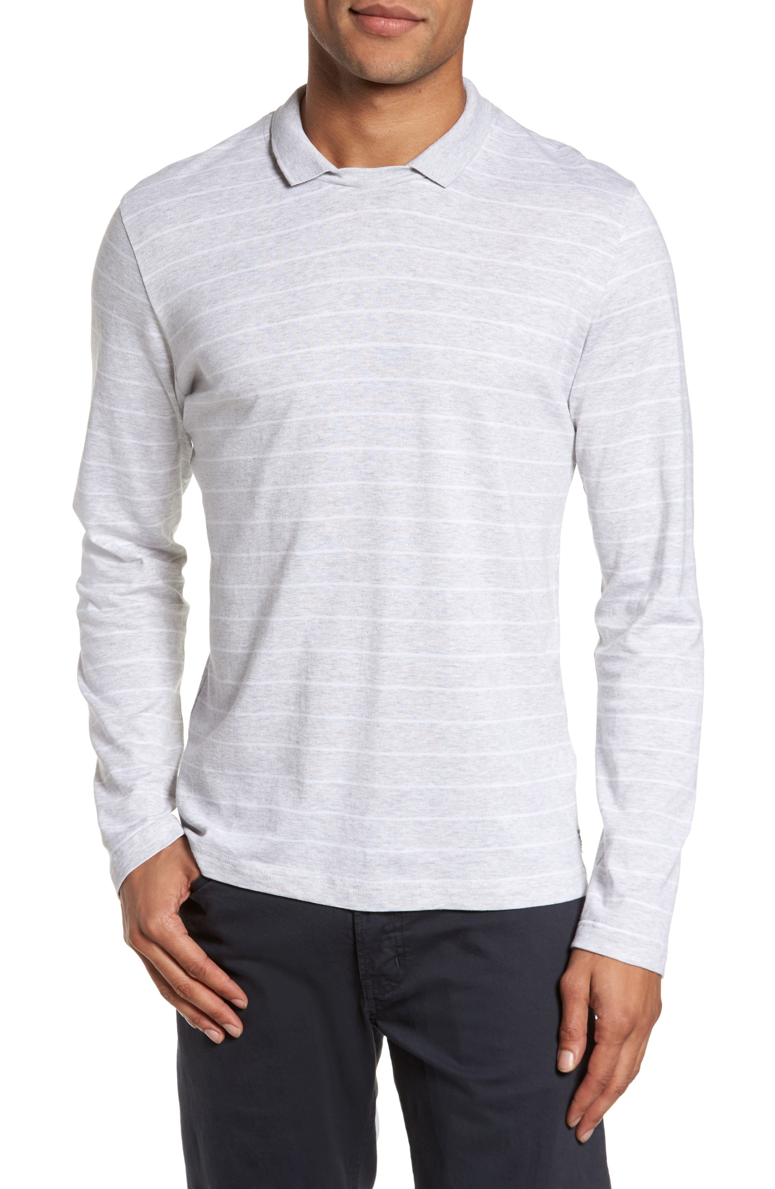 Stripe Crewneck Polo Shirt,                             Main thumbnail 1, color,                             Light Grey