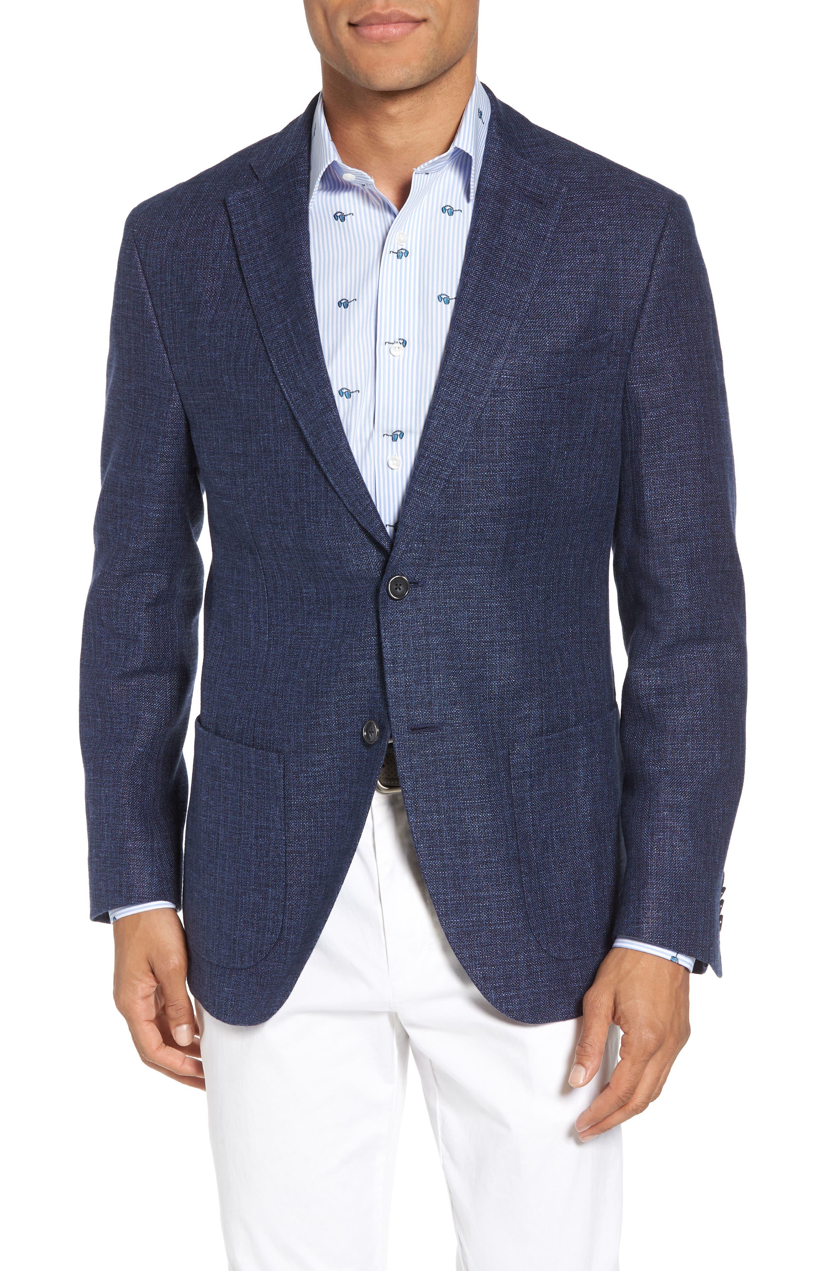 Trent Trim Fit Wool & Linen Blazer,                         Main,                         color, Navy