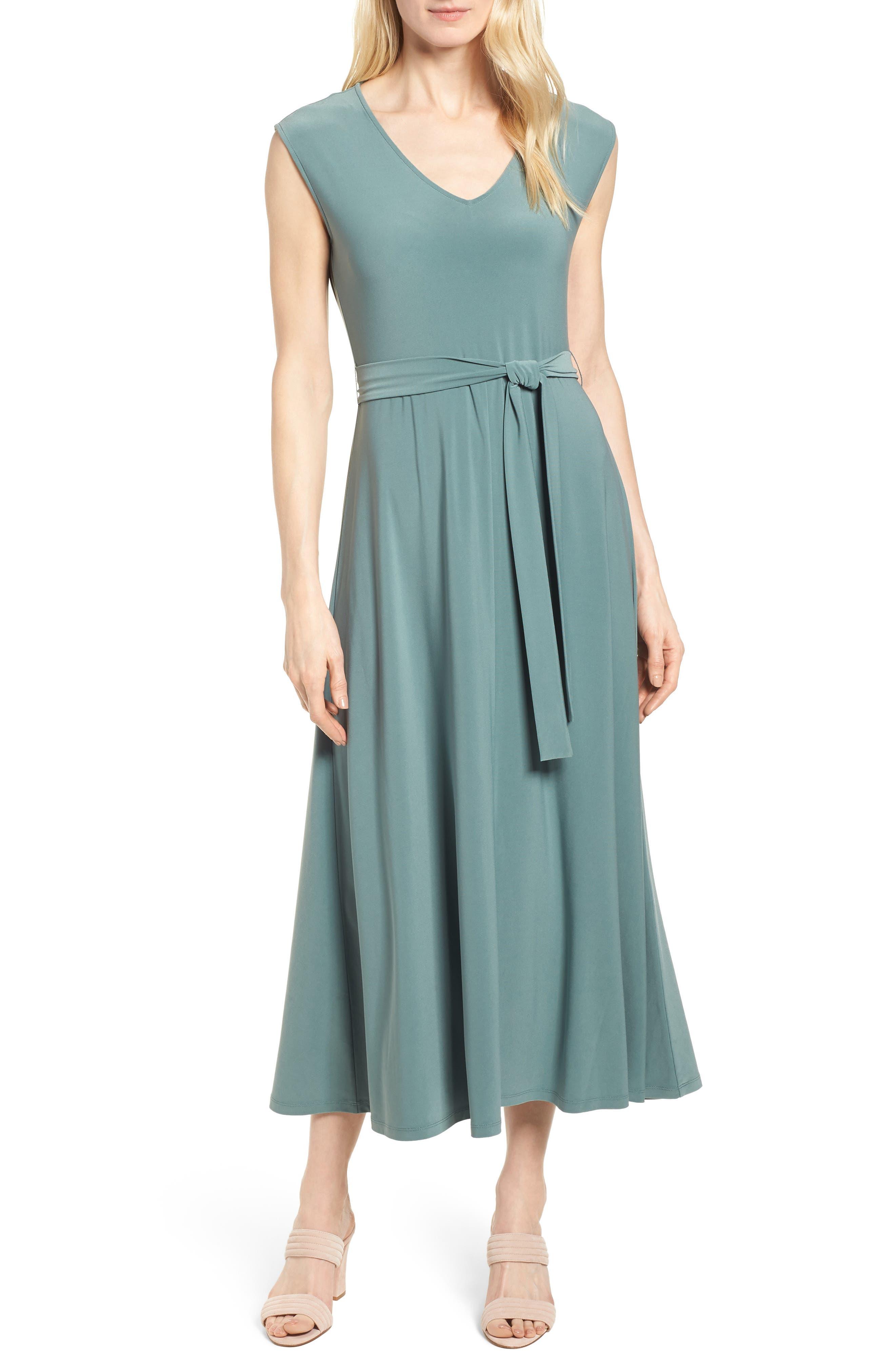 Tie Waist Maxi Dress,                         Main,                         color, 738-Tropic Moss