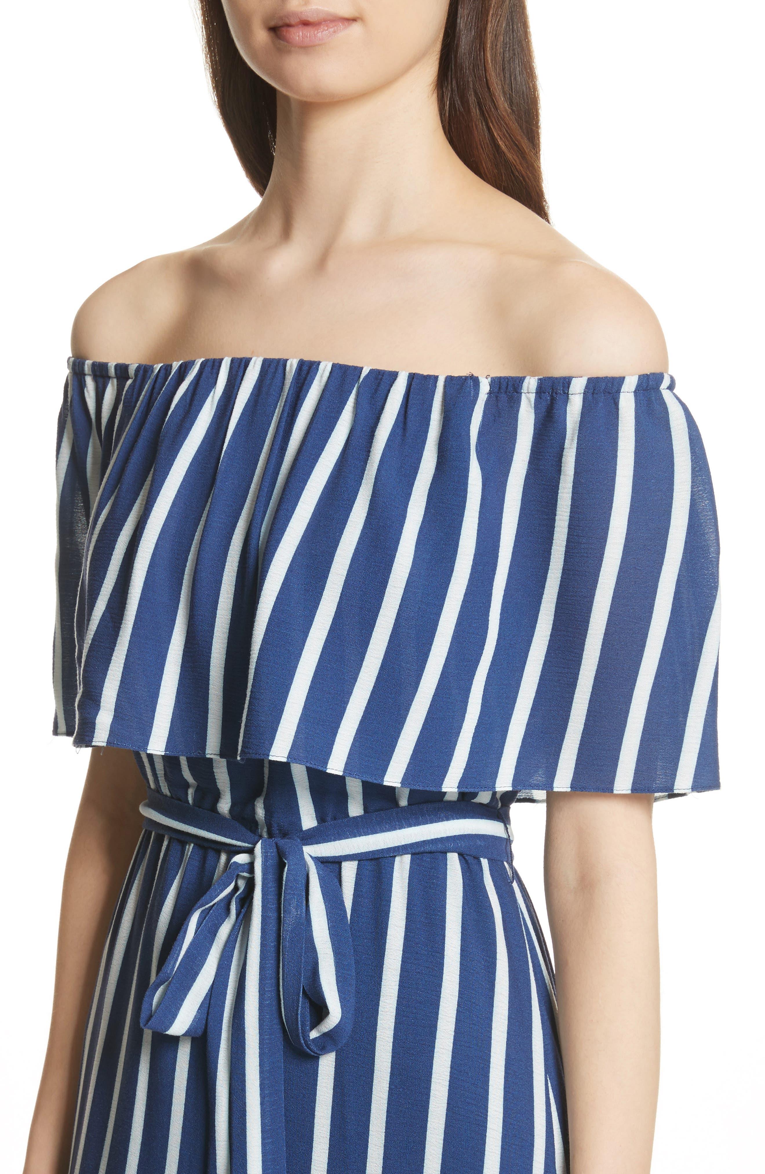Grazi Off the Shoulder Maxi Dress,                             Alternate thumbnail 4, color,                             Oasis Stripe