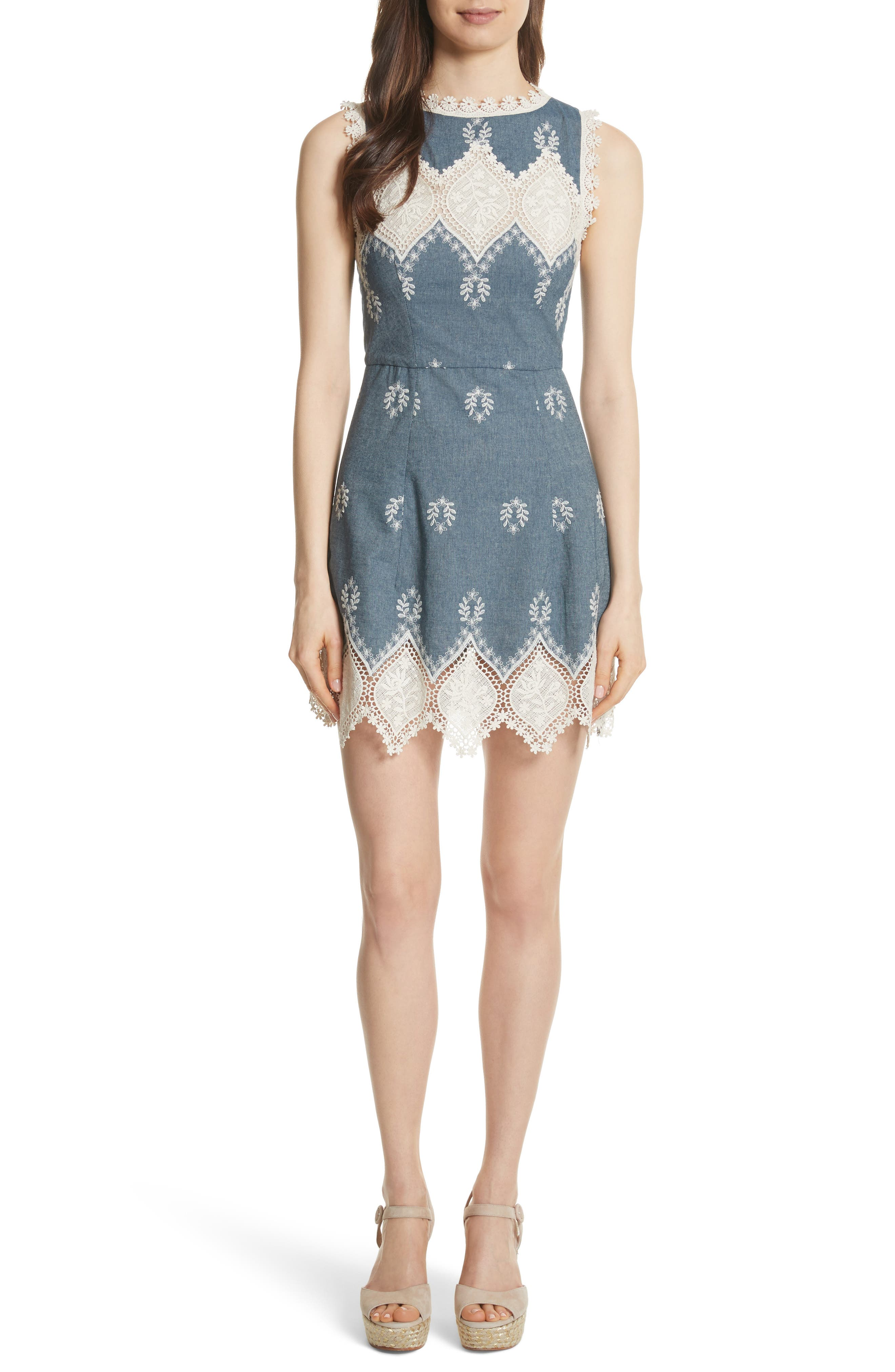 Embroidered Minidress,                         Main,                         color, Chambray/ Cream