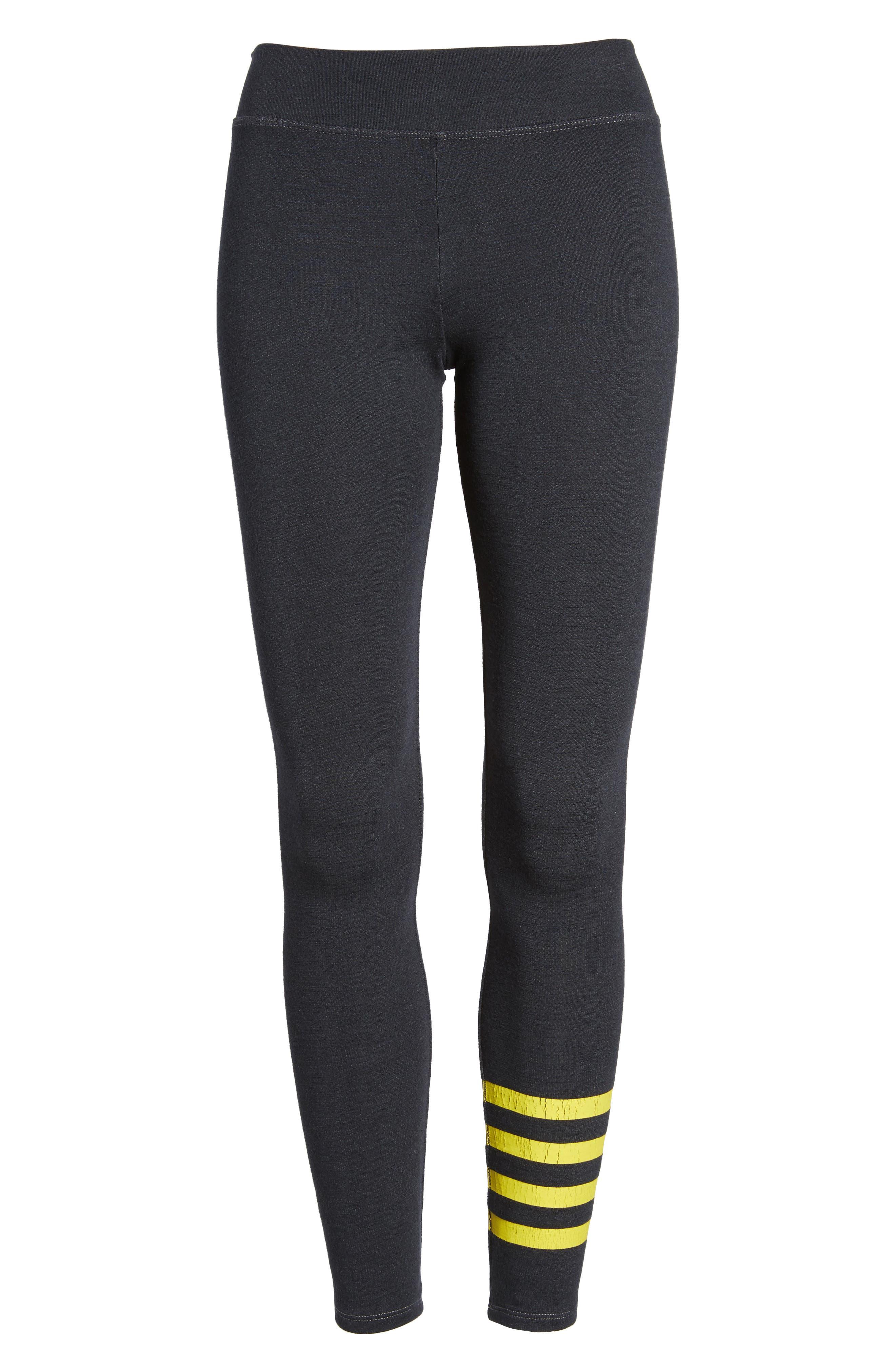 Stripe Yoga Pants,                             Alternate thumbnail 7, color,                             Old Black