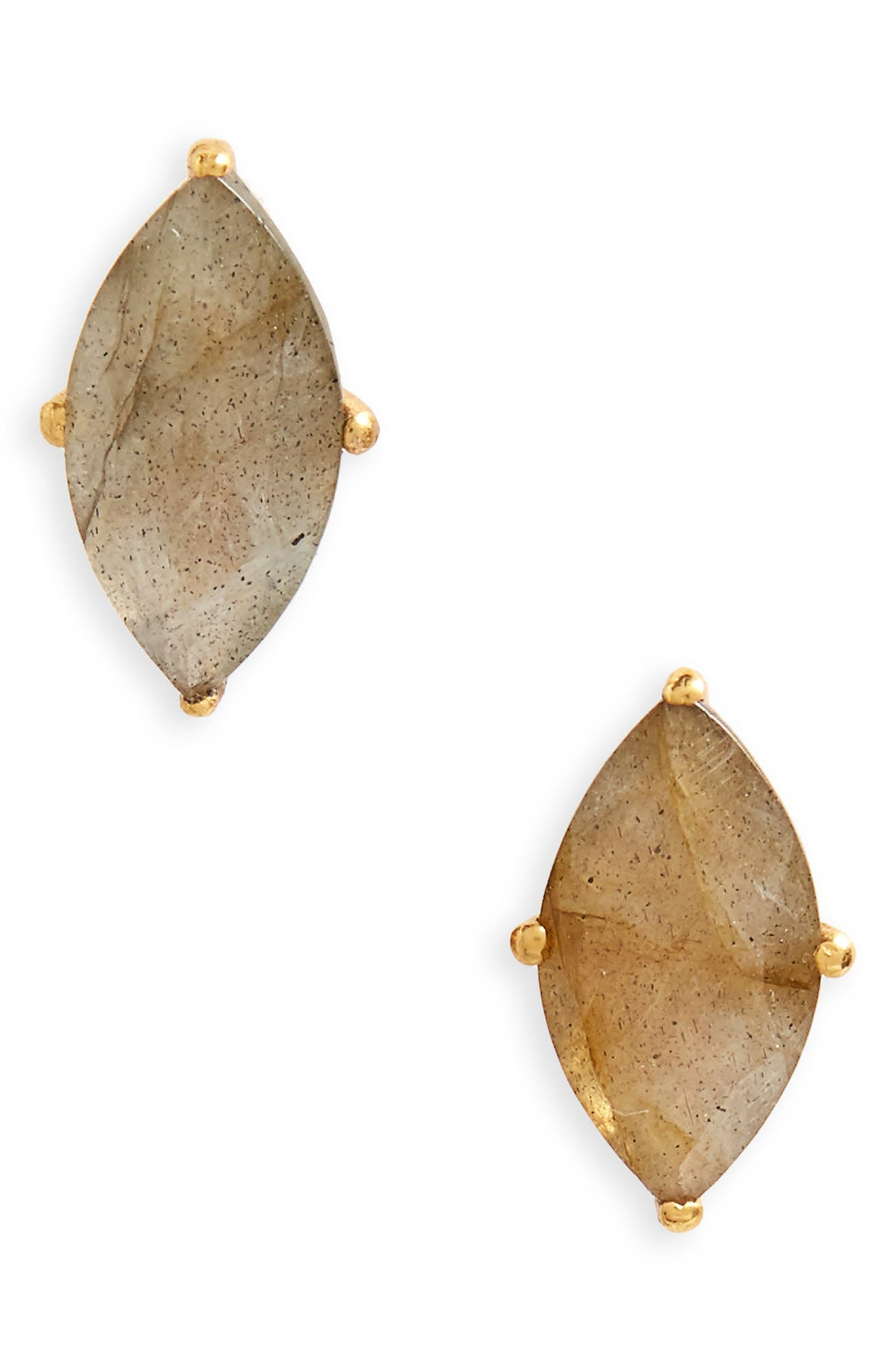 Lotus Stud Earrings,                             Main thumbnail 1, color,                             Labradorite/ Gold