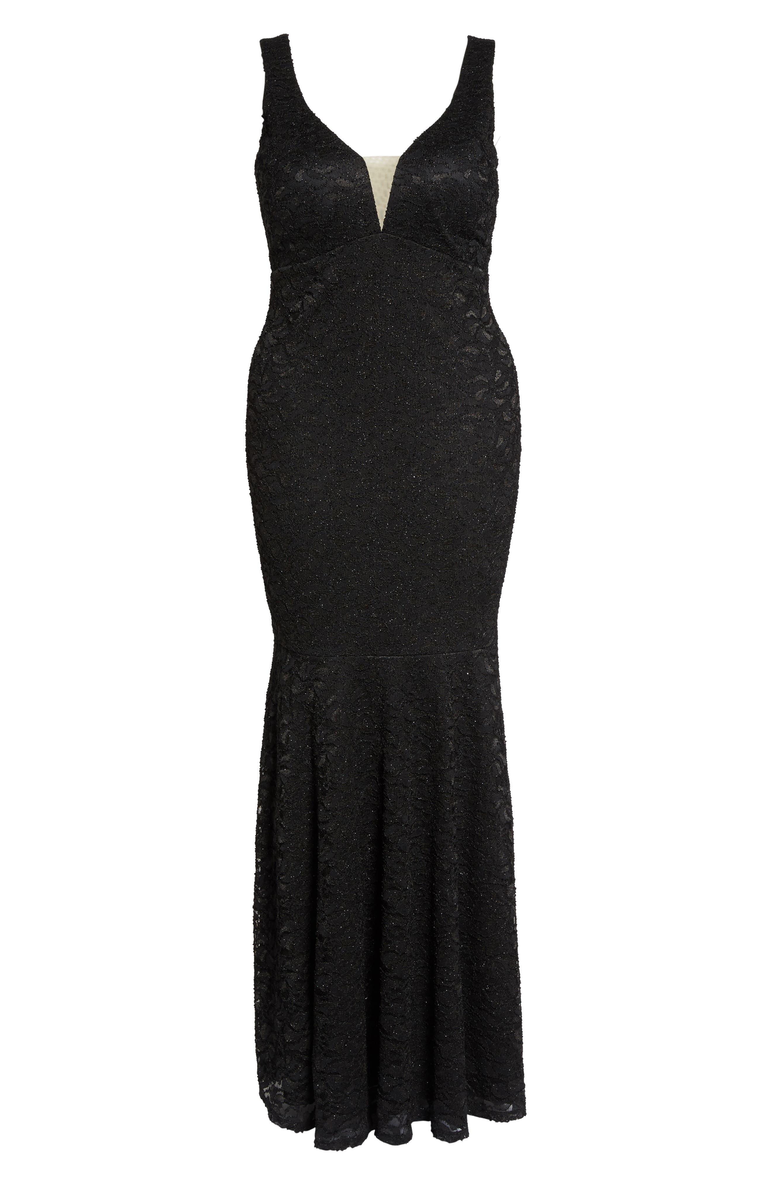 Plunge Lace Trumpet Gown,                             Alternate thumbnail 6, color,                             Black