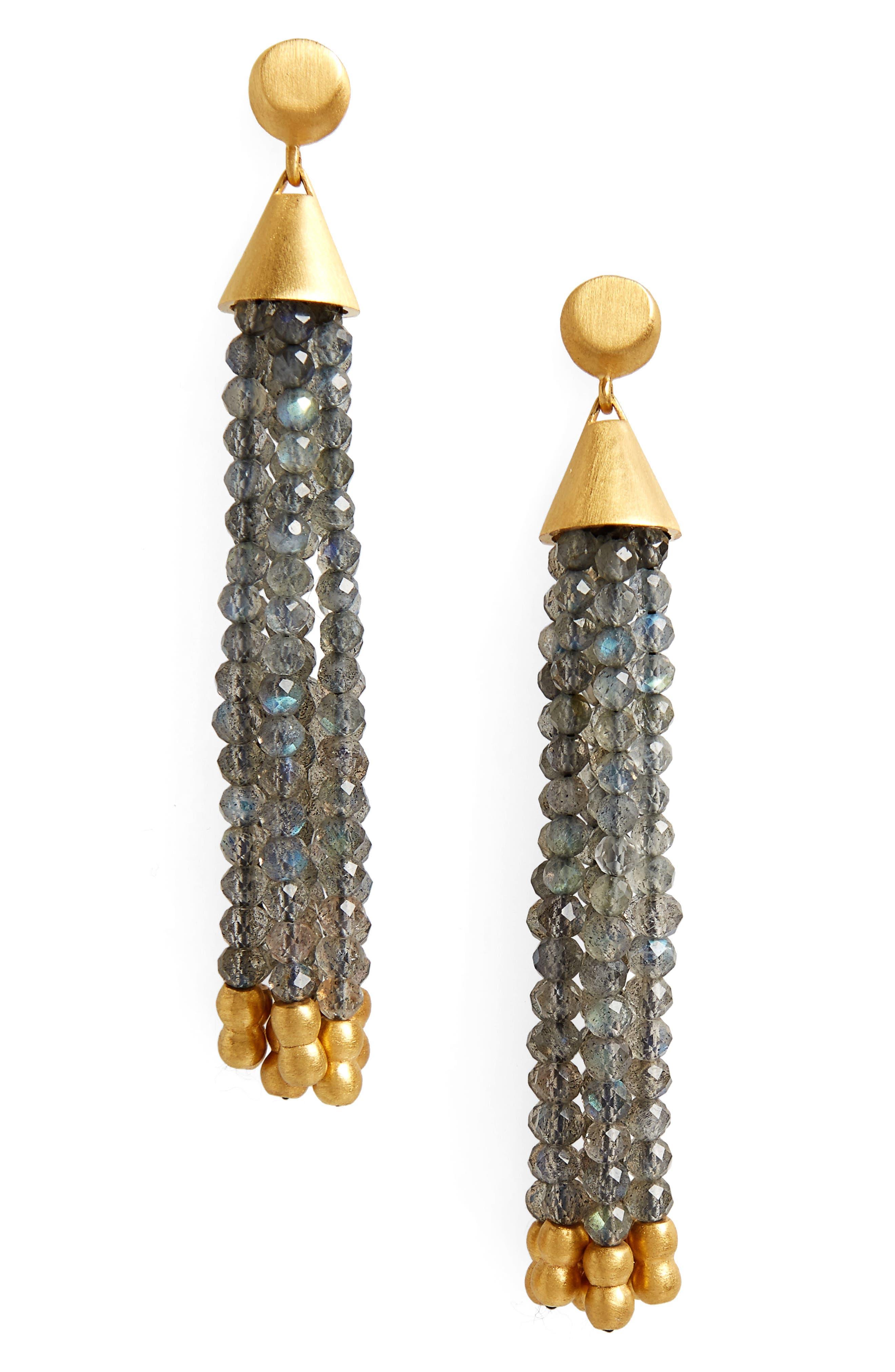 Samba Tassel Earrings,                             Main thumbnail 1, color,                             Labradorite/ Gold