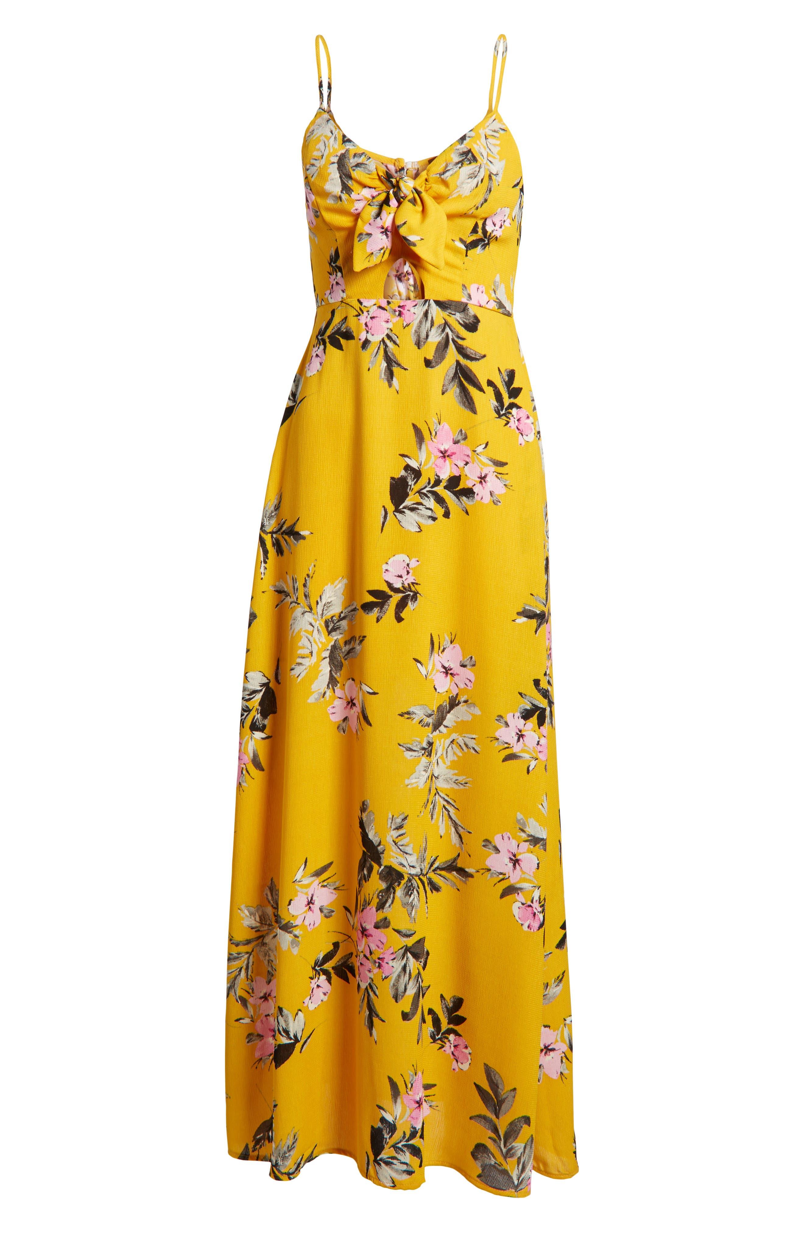 Tie Front Maxi Dress,                             Alternate thumbnail 7, color,                             Marigold