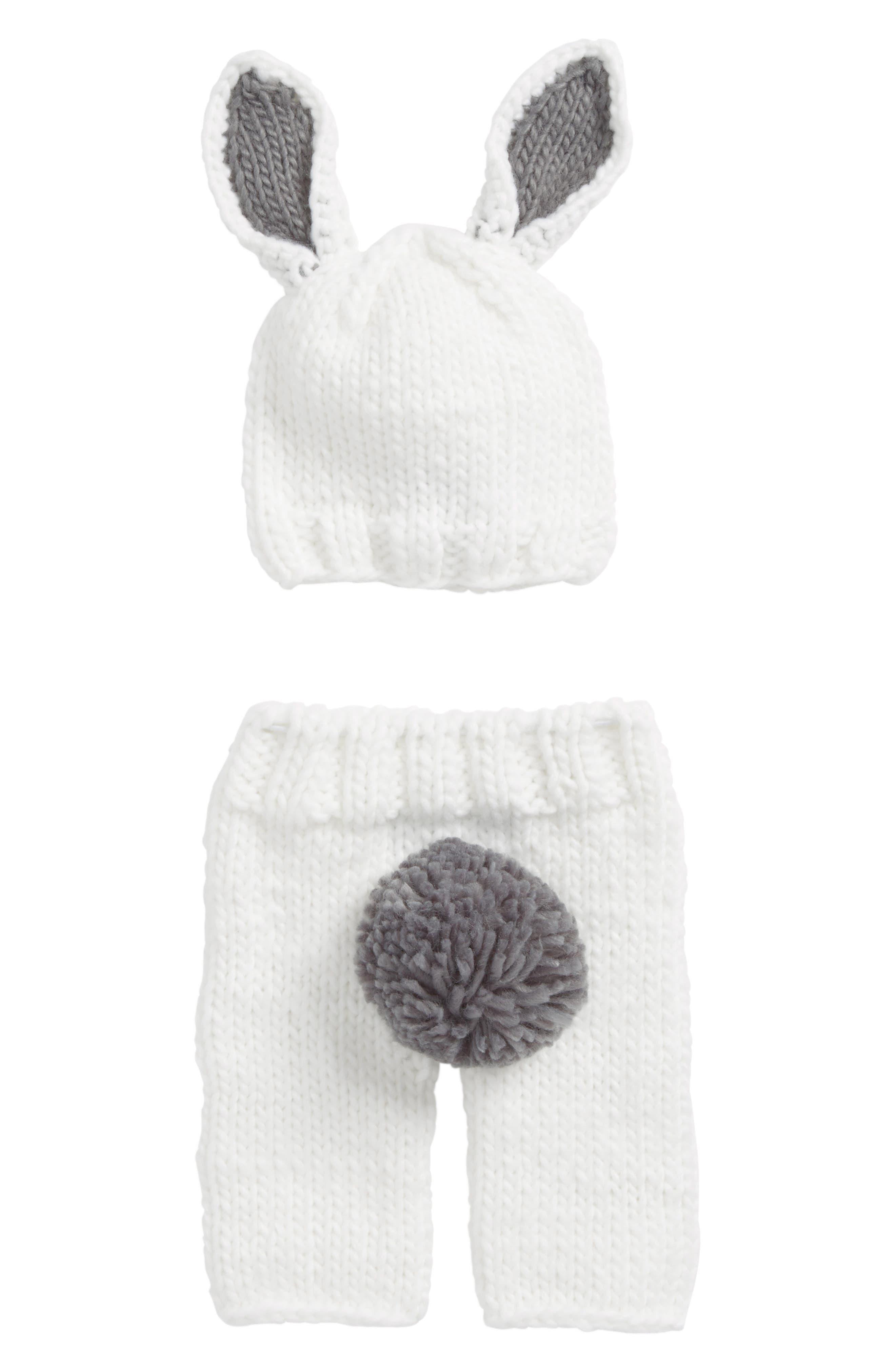 Bunny Pants & Hat Set,                             Main thumbnail 1, color,                             Bailey Gray
