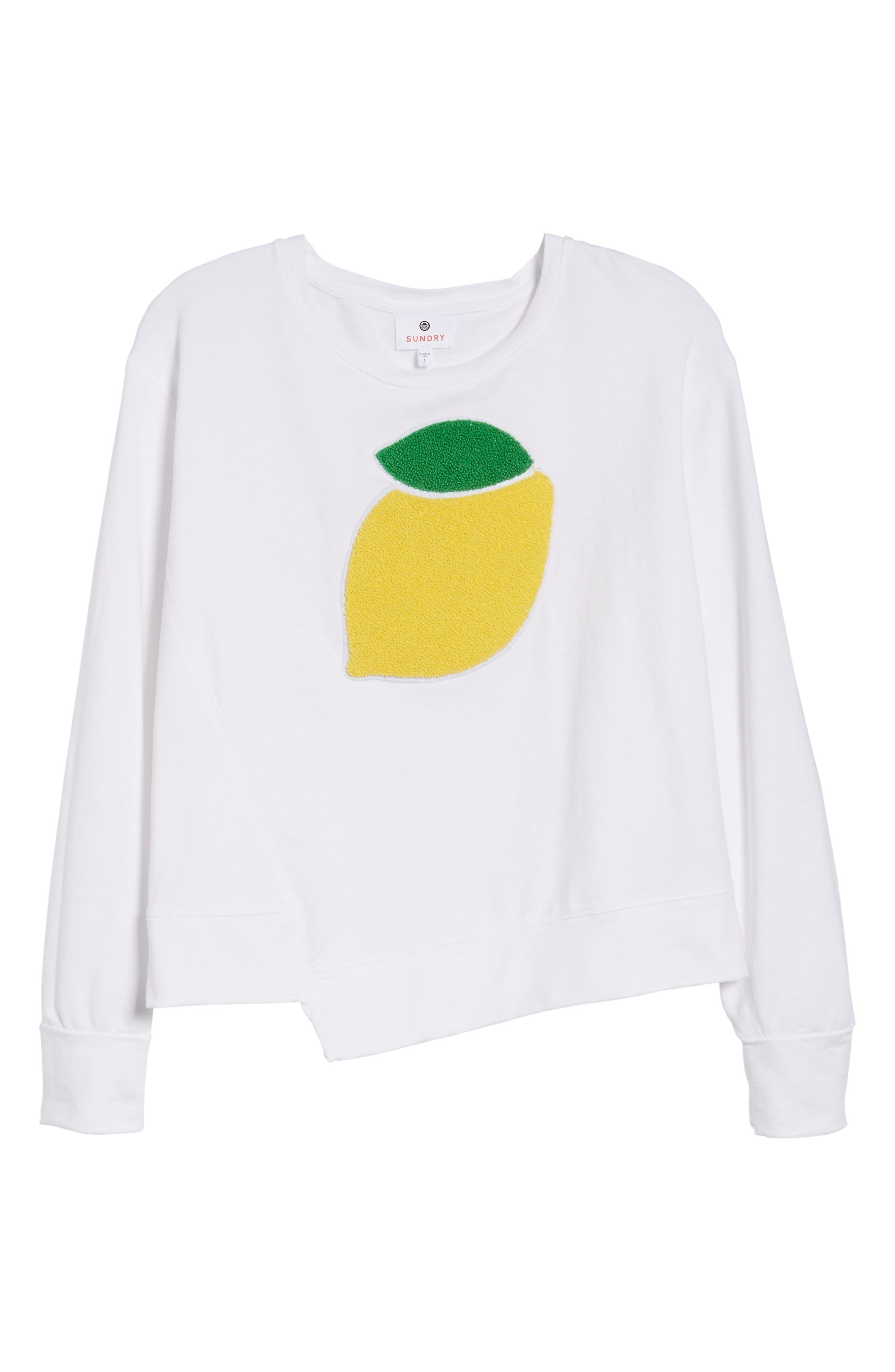 Lemon Asymmetrical Hem Pullover,                             Alternate thumbnail 7, color,                             White