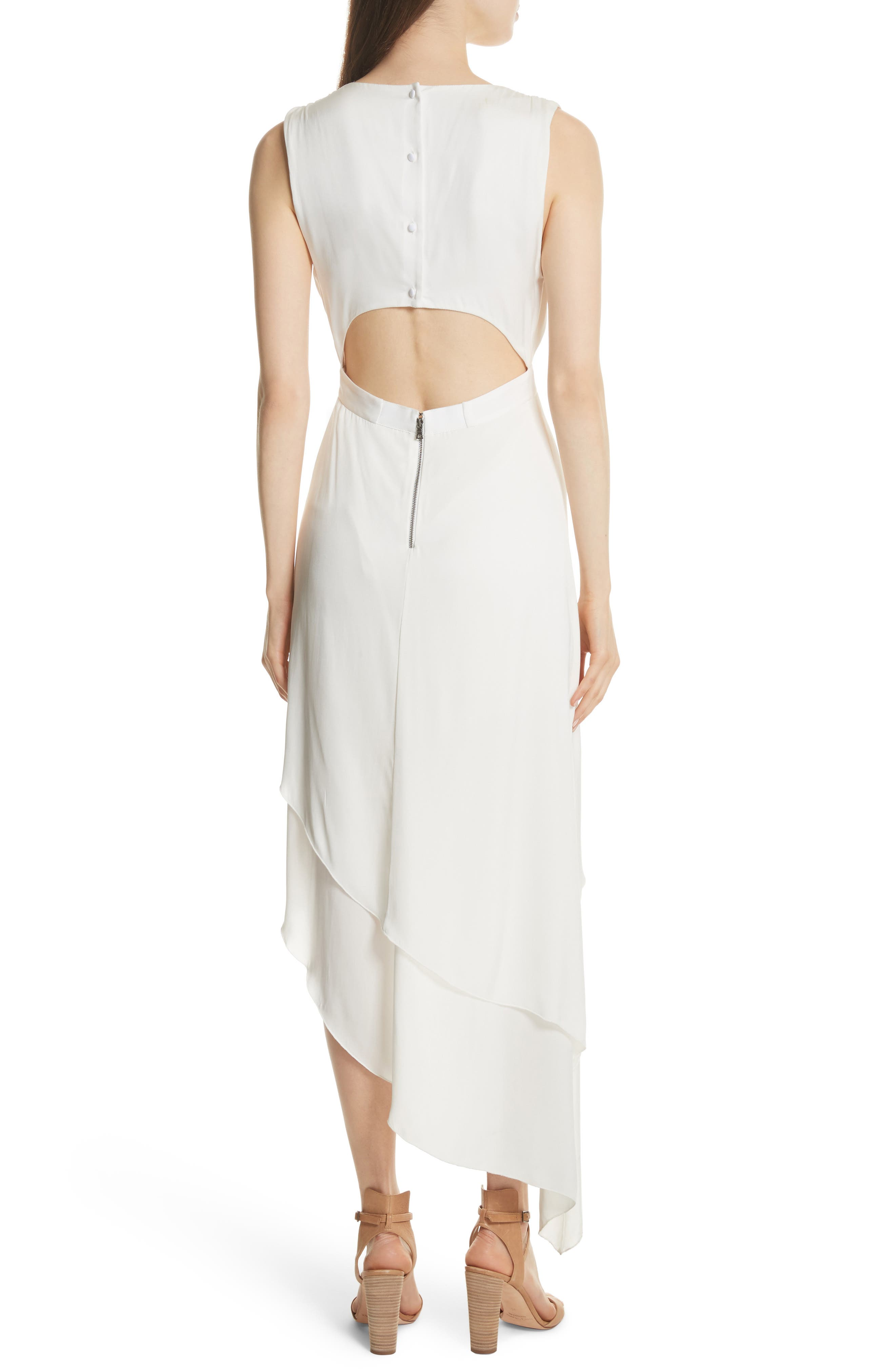 Chantay Asymmetrical Plunging Maxi Dress,                             Alternate thumbnail 2, color,                             Off White