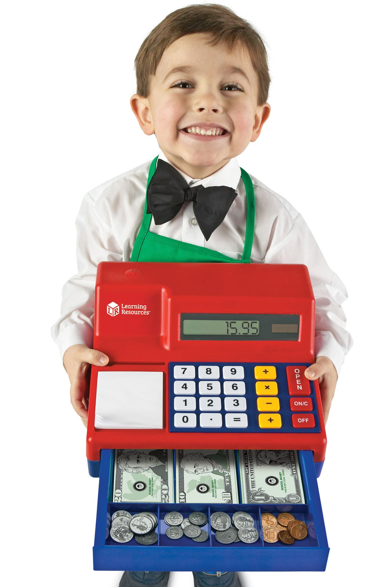 73-Piece Calculator Cash Register Toy,                             Alternate thumbnail 4, color,                             Red