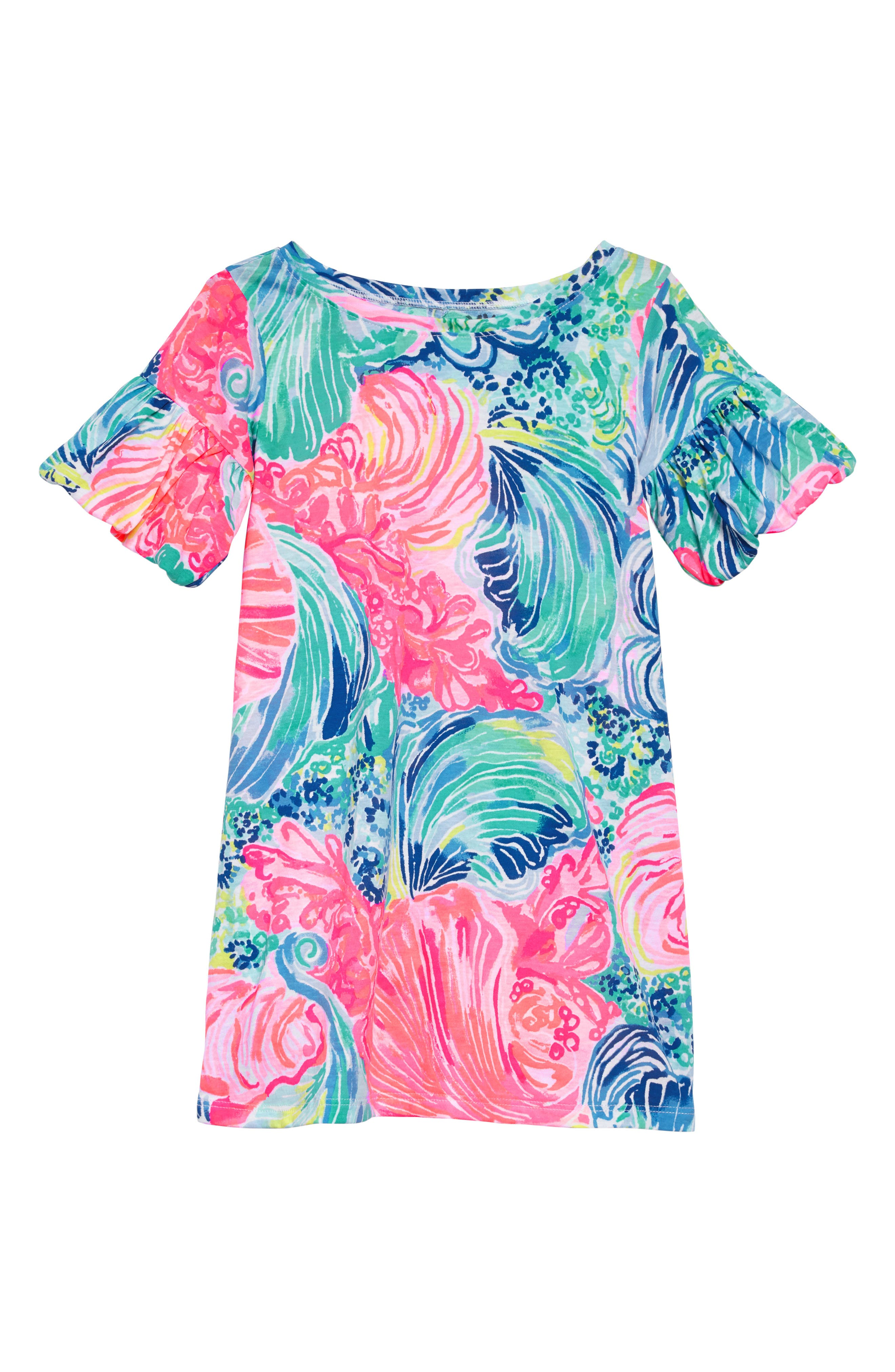 Lilly Pulitzer Mini Lindell Ruffle Sleeve Dress,                             Main thumbnail 1, color,                             Multi Beach Please
