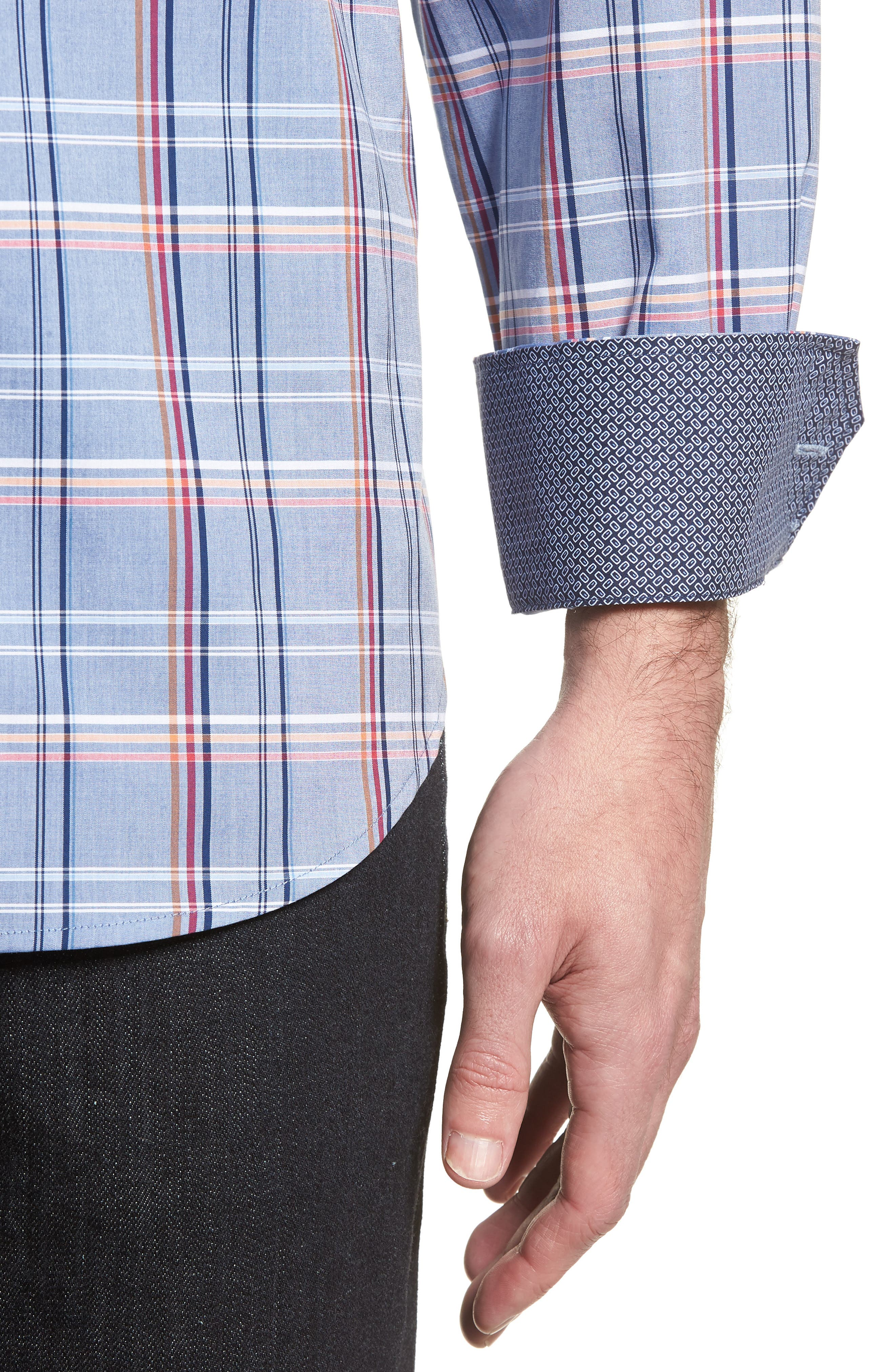 Classic Fit Urban Plaid Sport Shirt,                             Alternate thumbnail 4, color,                             Steel