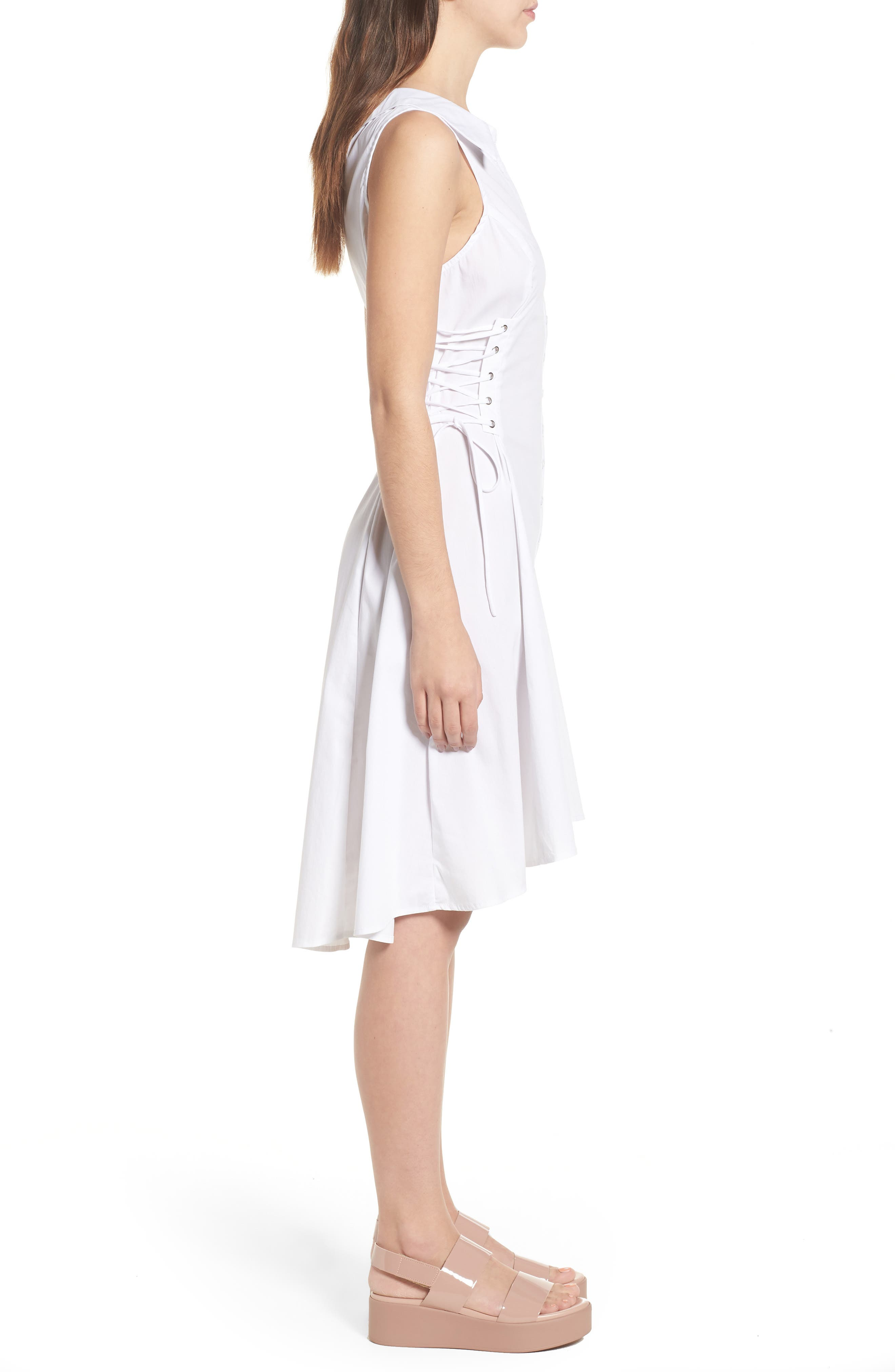 Sydney Lace Side Dress,                             Alternate thumbnail 3, color,                             White