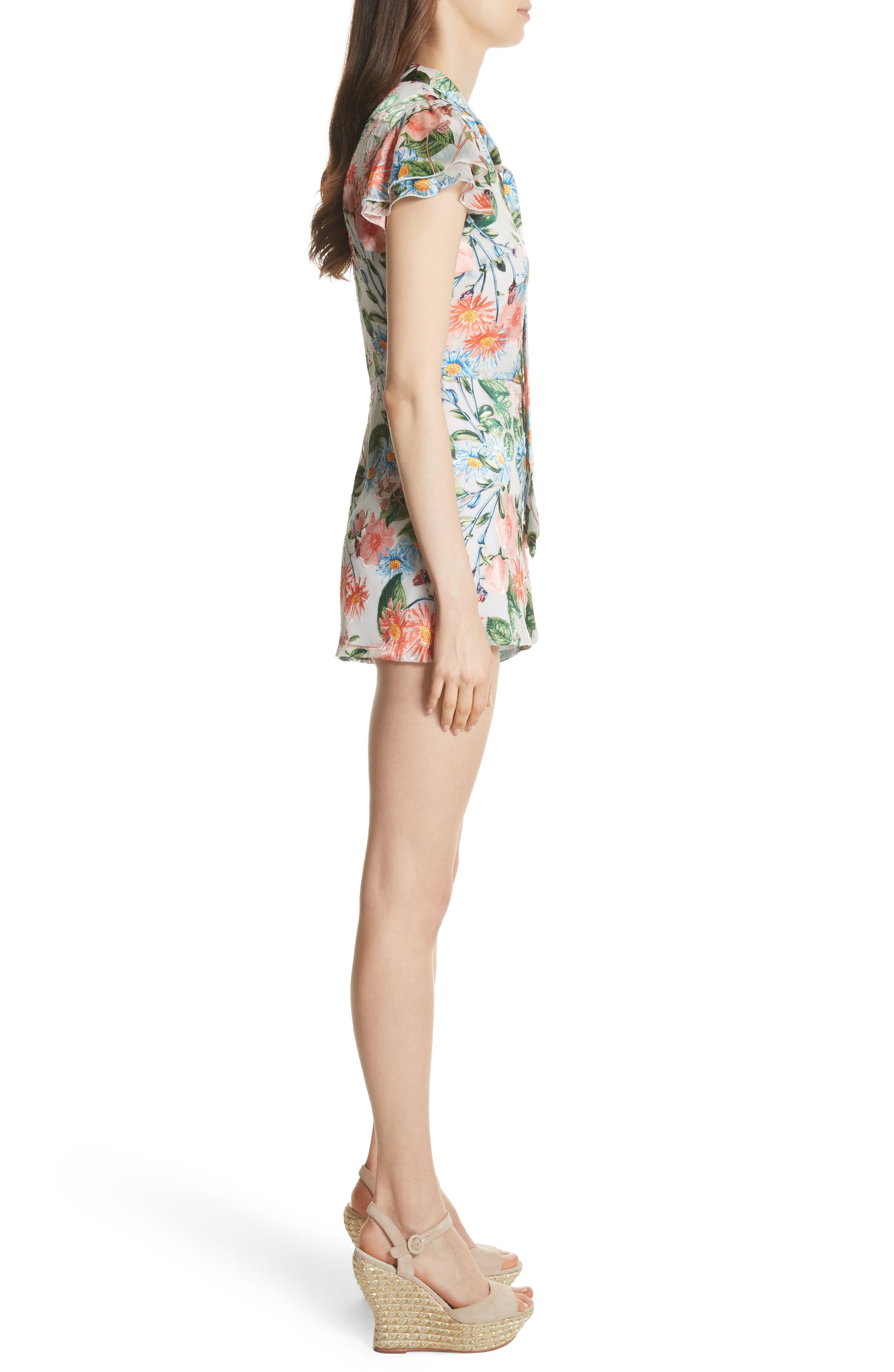 Macall Floral Ruffle Sleeve Romper,                             Alternate thumbnail 3, color,                             Floral Fields