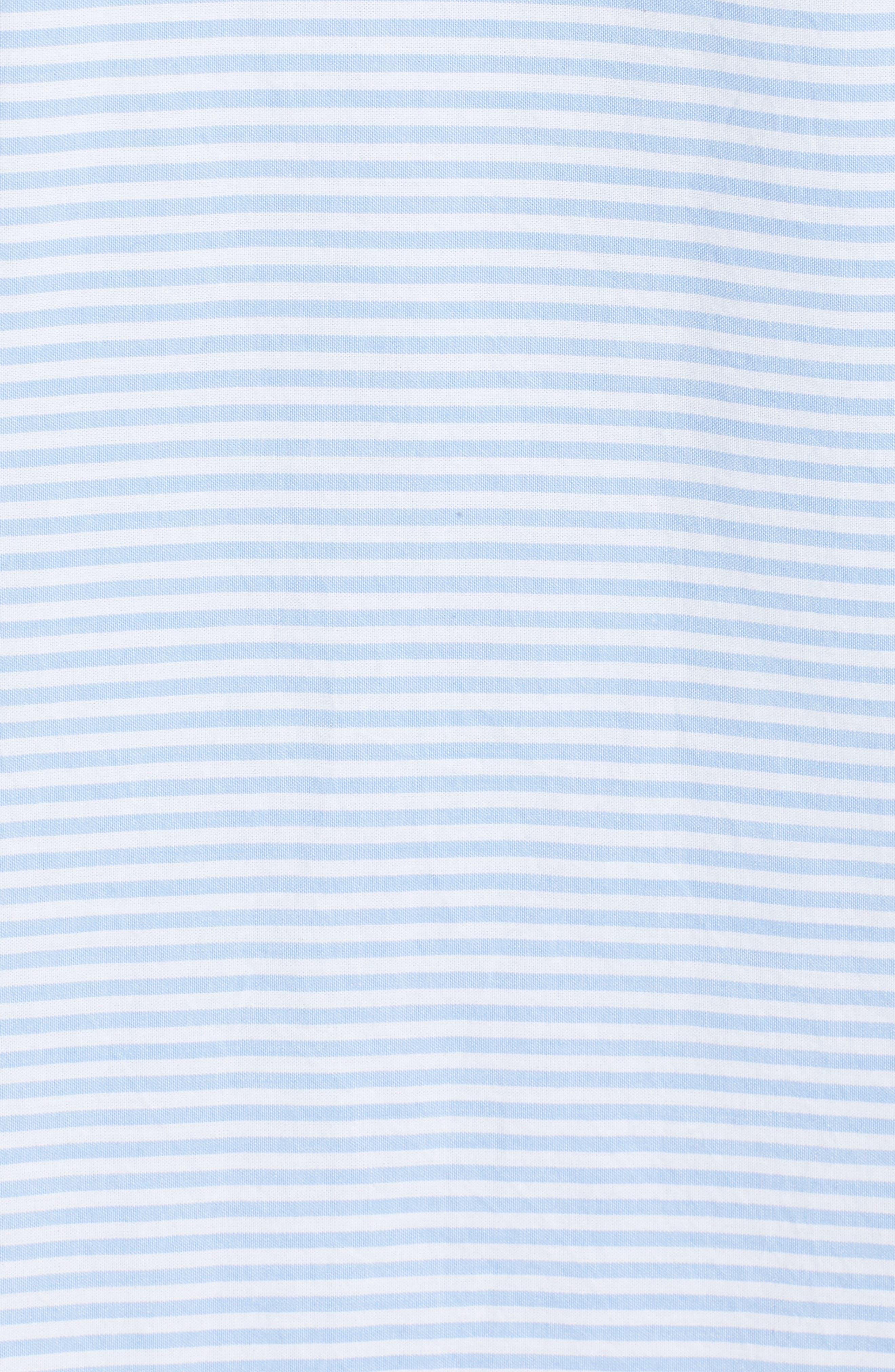 Embroidered Stripe Shift Dress,                             Alternate thumbnail 5, color,                             Hydrangea