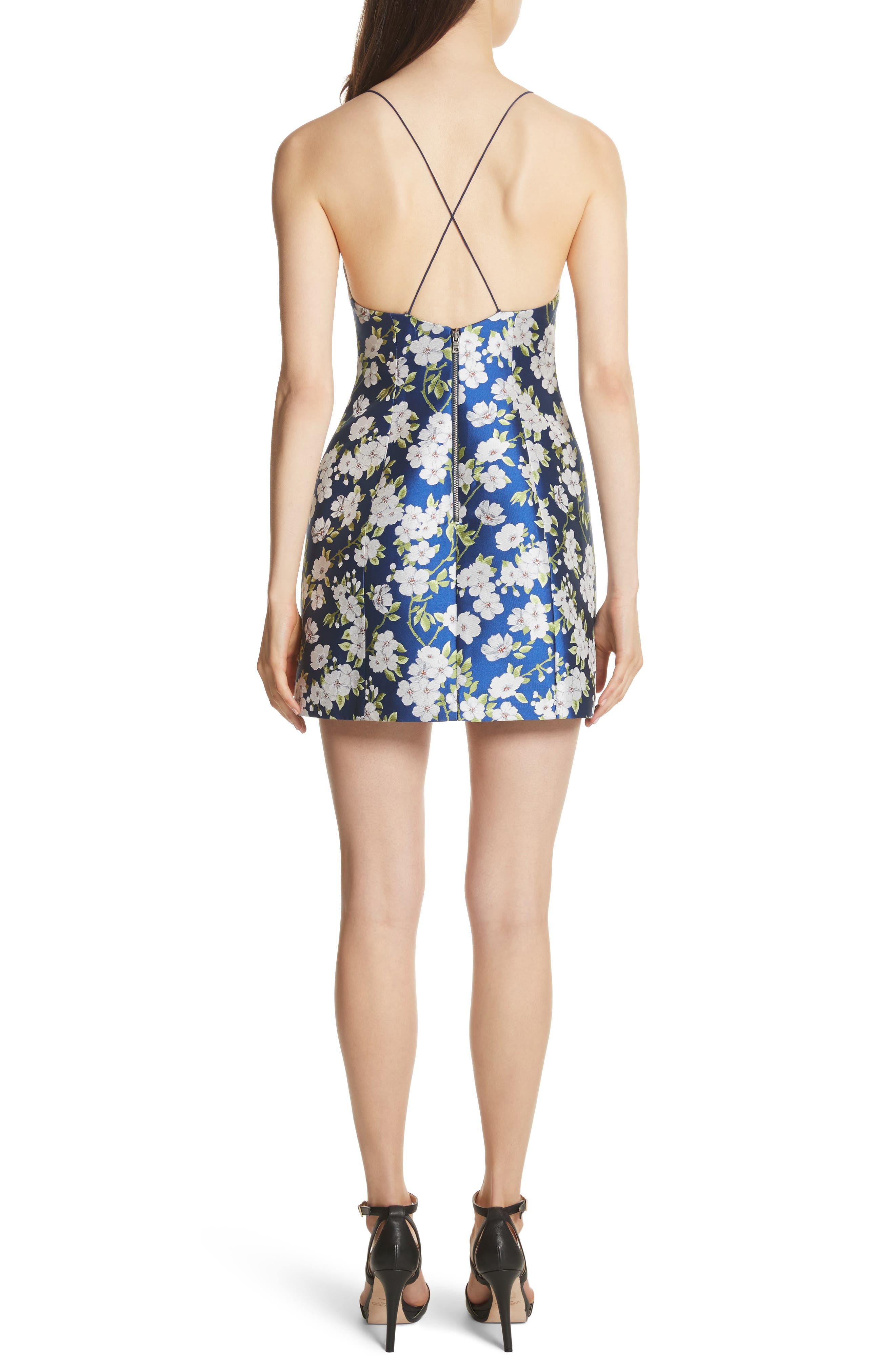 Tayla Structured Lantern Mini Dress,                             Alternate thumbnail 2, color,                             Indigo/ White
