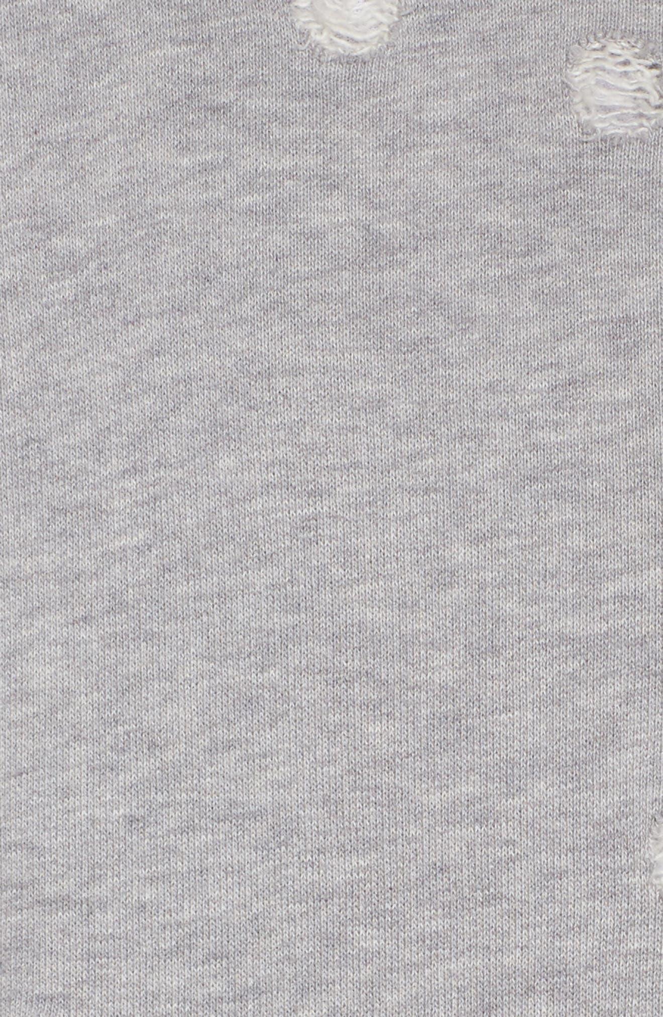 Distressed Zip Sweatshirt,                             Alternate thumbnail 7, color,                             Heather Grey