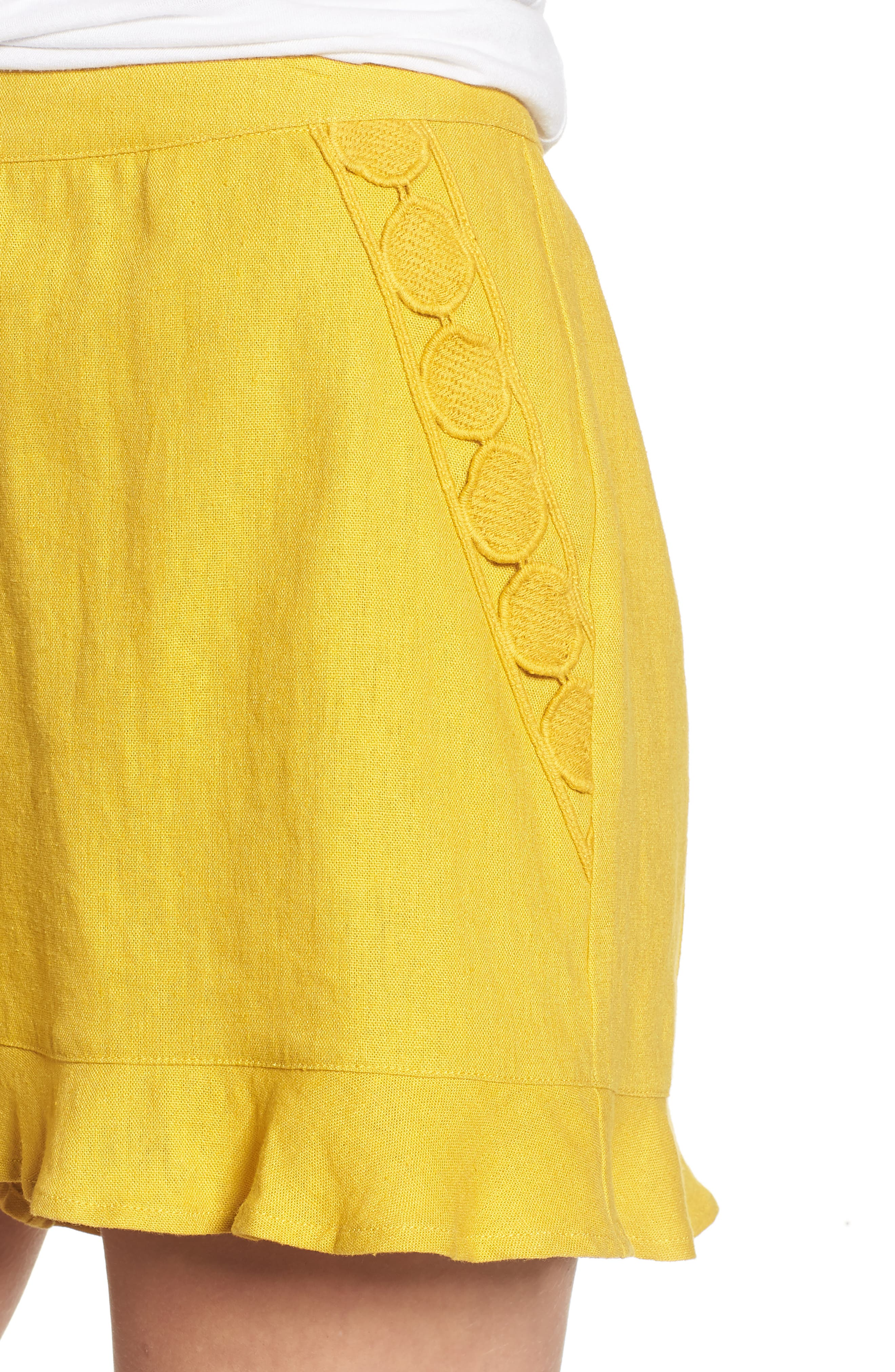 High Rise Ruffle Shorts,                             Alternate thumbnail 4, color,                             Mustard
