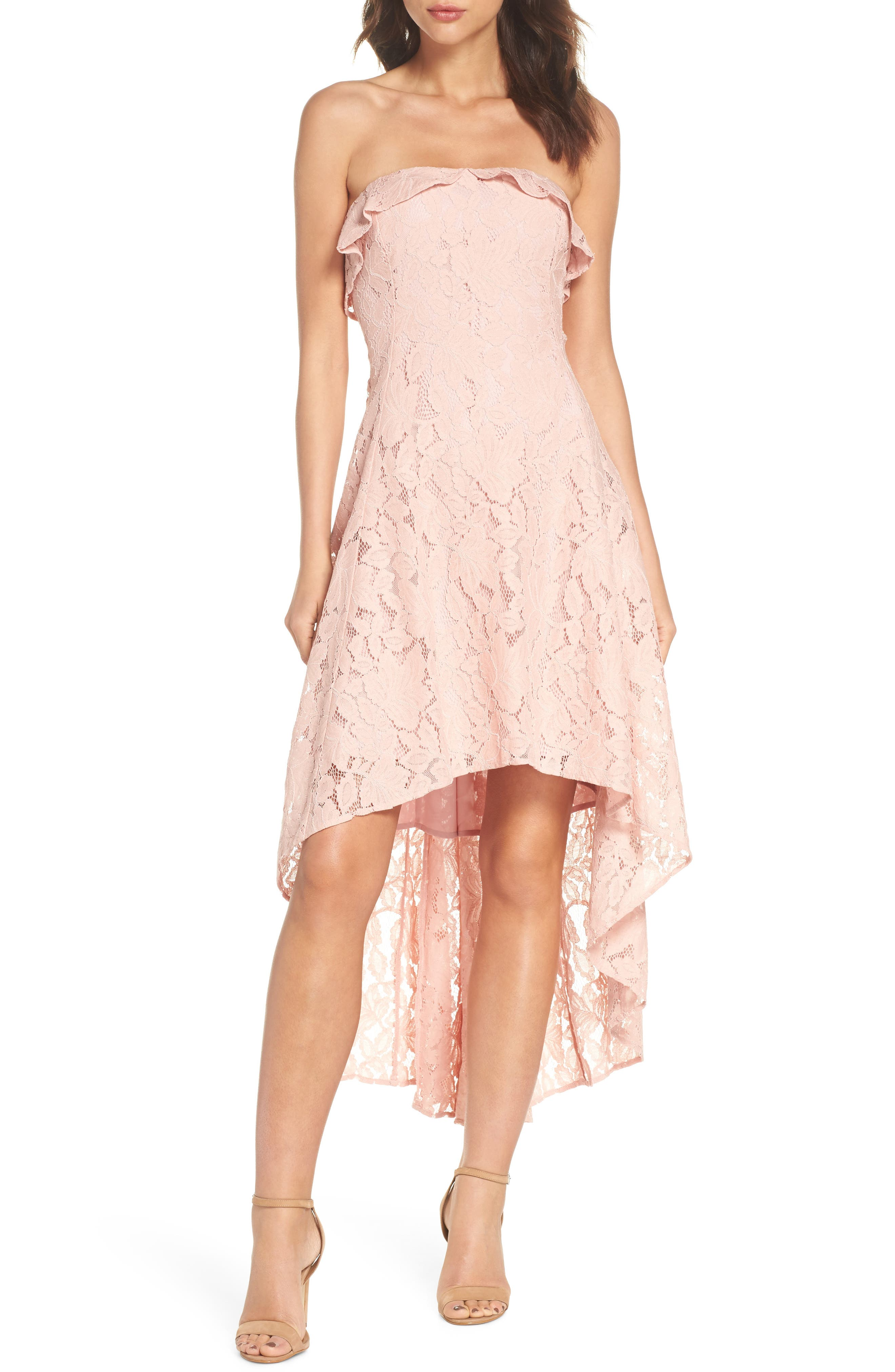 Strapless Lace High/Low Dress,                             Main thumbnail 1, color,                             Peach