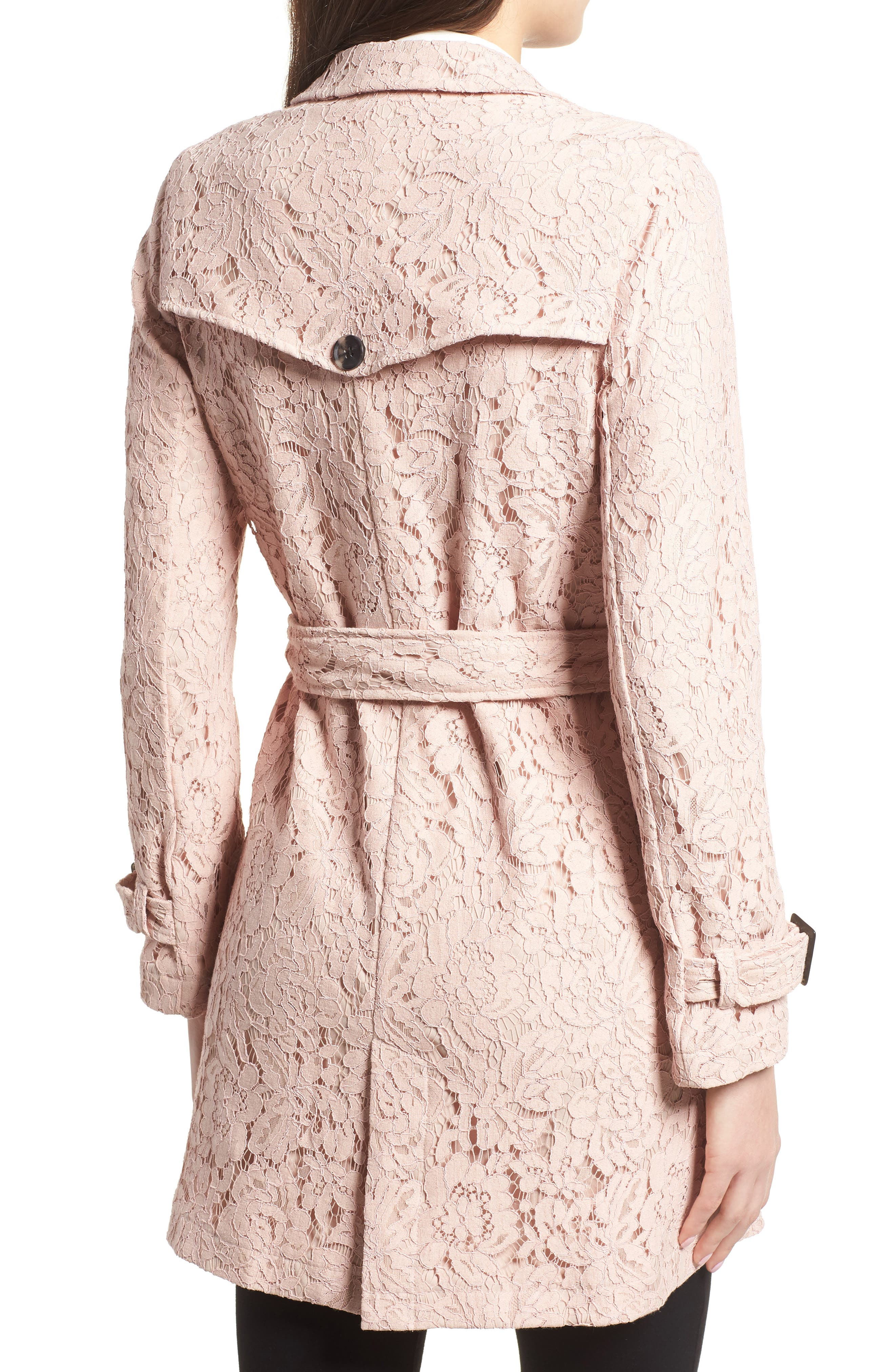 Auretta Lace Trench Coat,                             Alternate thumbnail 2, color,                             Pale Pink