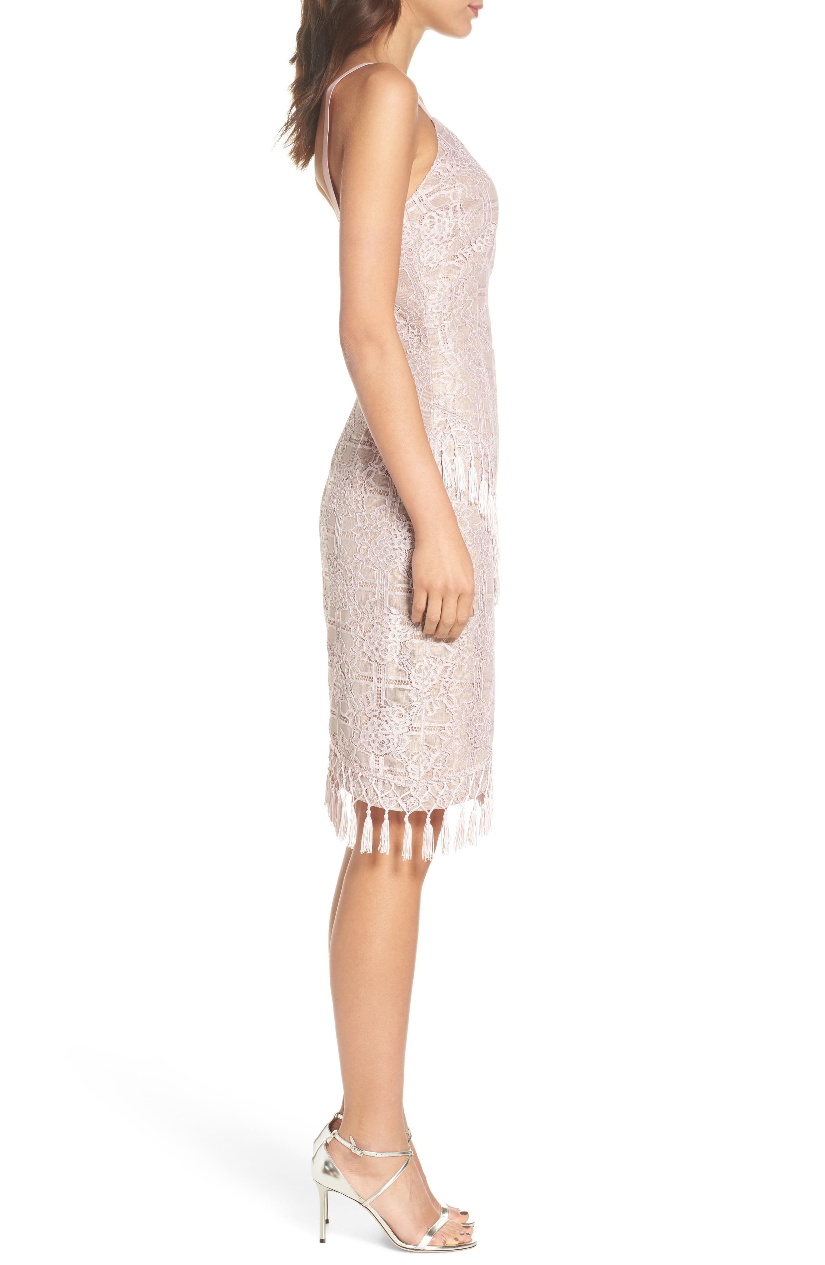 Natasha Asymmetrical Lace Dress,                             Alternate thumbnail 3, color,                             Blush