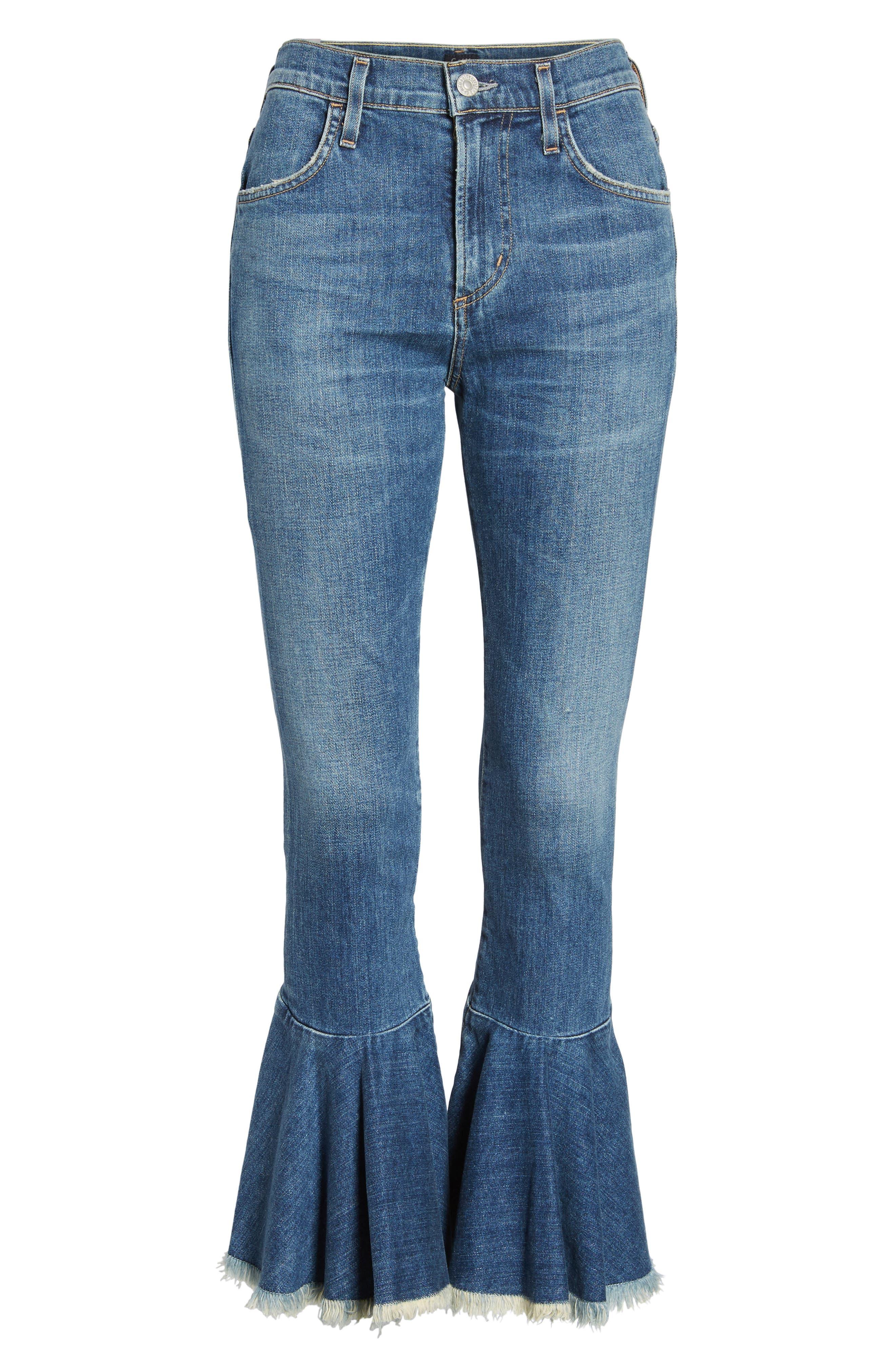 Drew Flounce Hem Crop Jeans,                             Alternate thumbnail 7, color,                             Chachacha