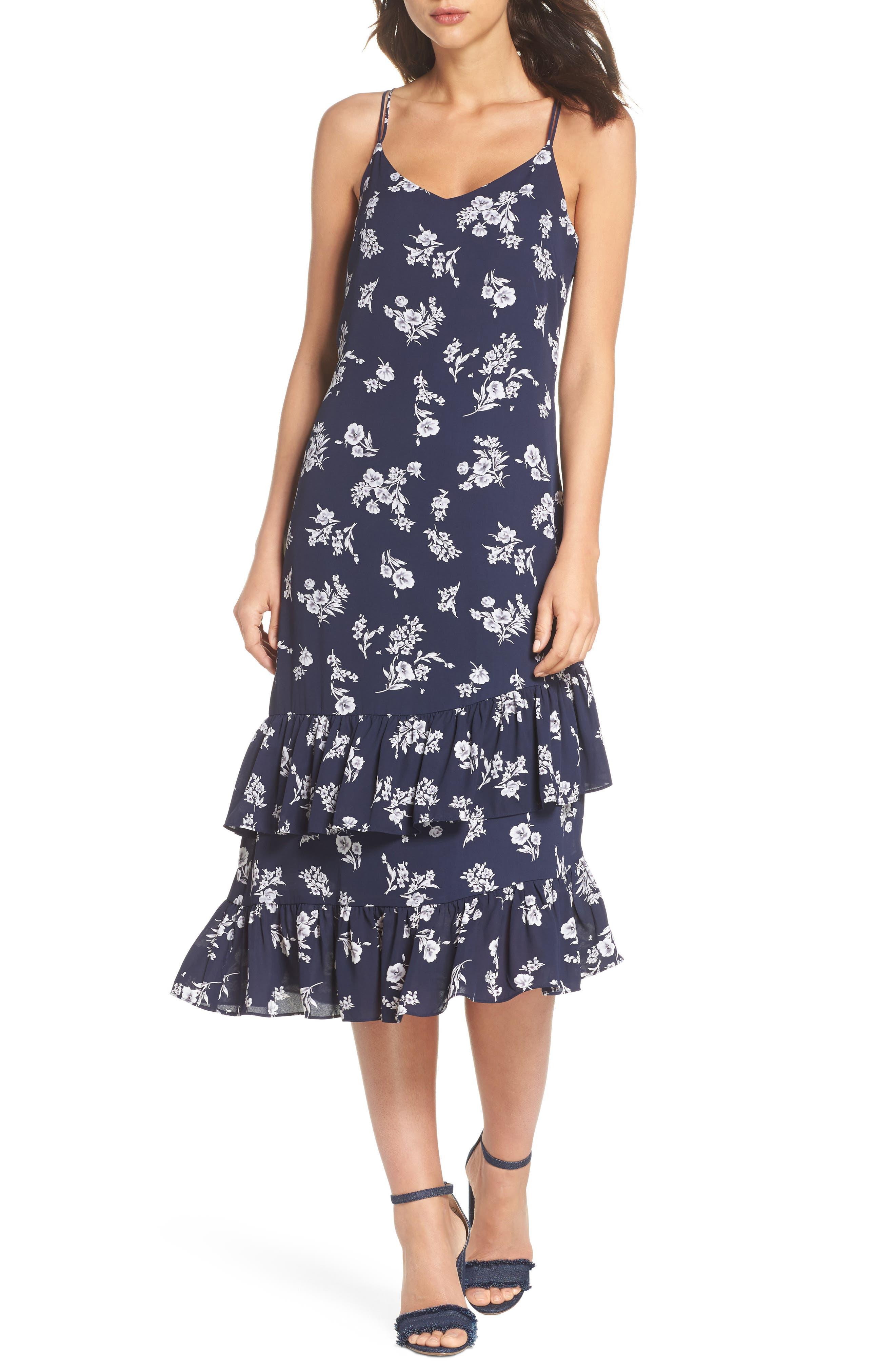 Ruffle Midi Dress,                         Main,                         color, Navy