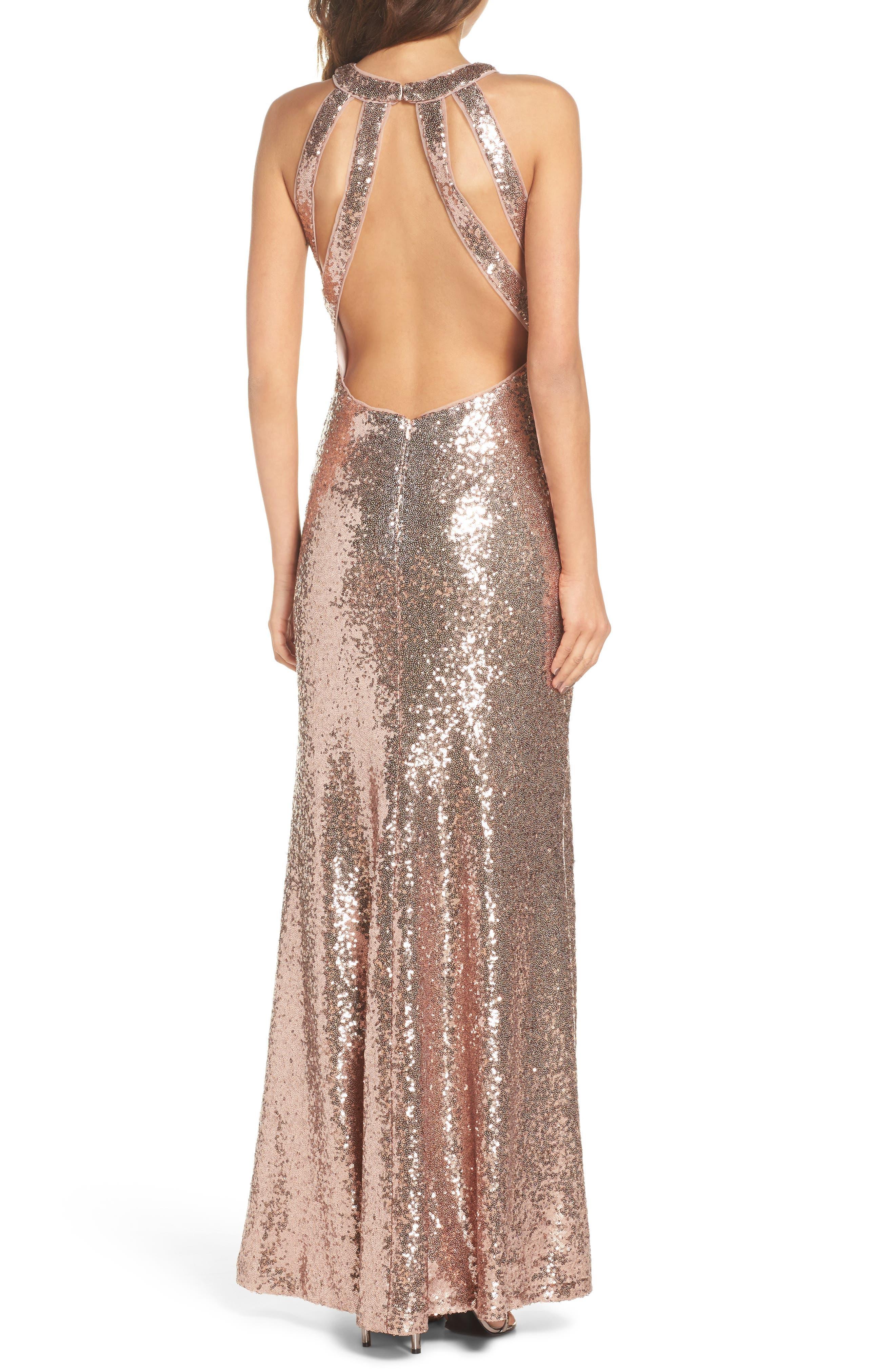 Sequin Halter Gown,                             Alternate thumbnail 2, color,                             Rose Gold