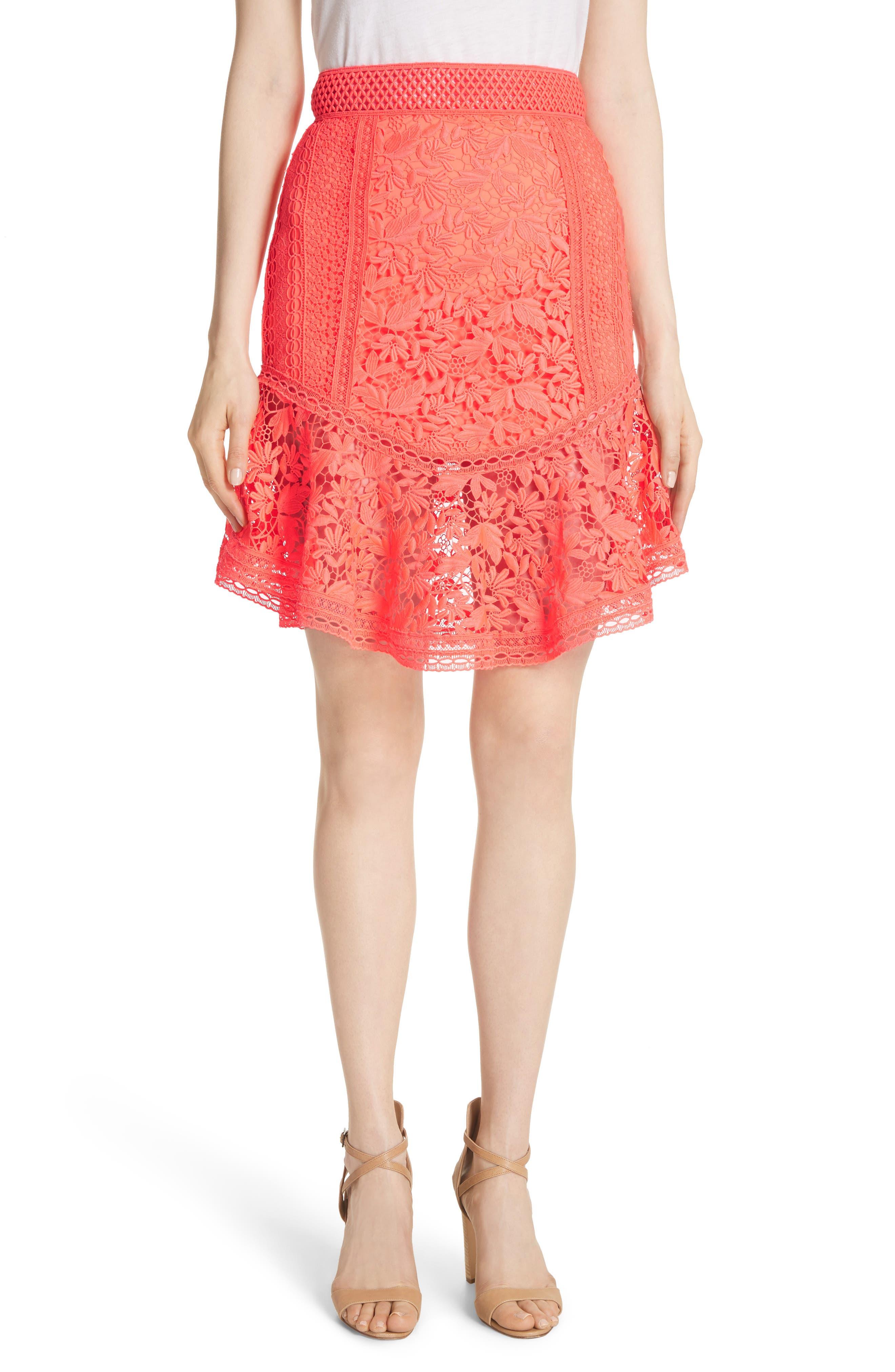 Alice + Olivia Eriko Curved Hem Fit & Flare Skirt