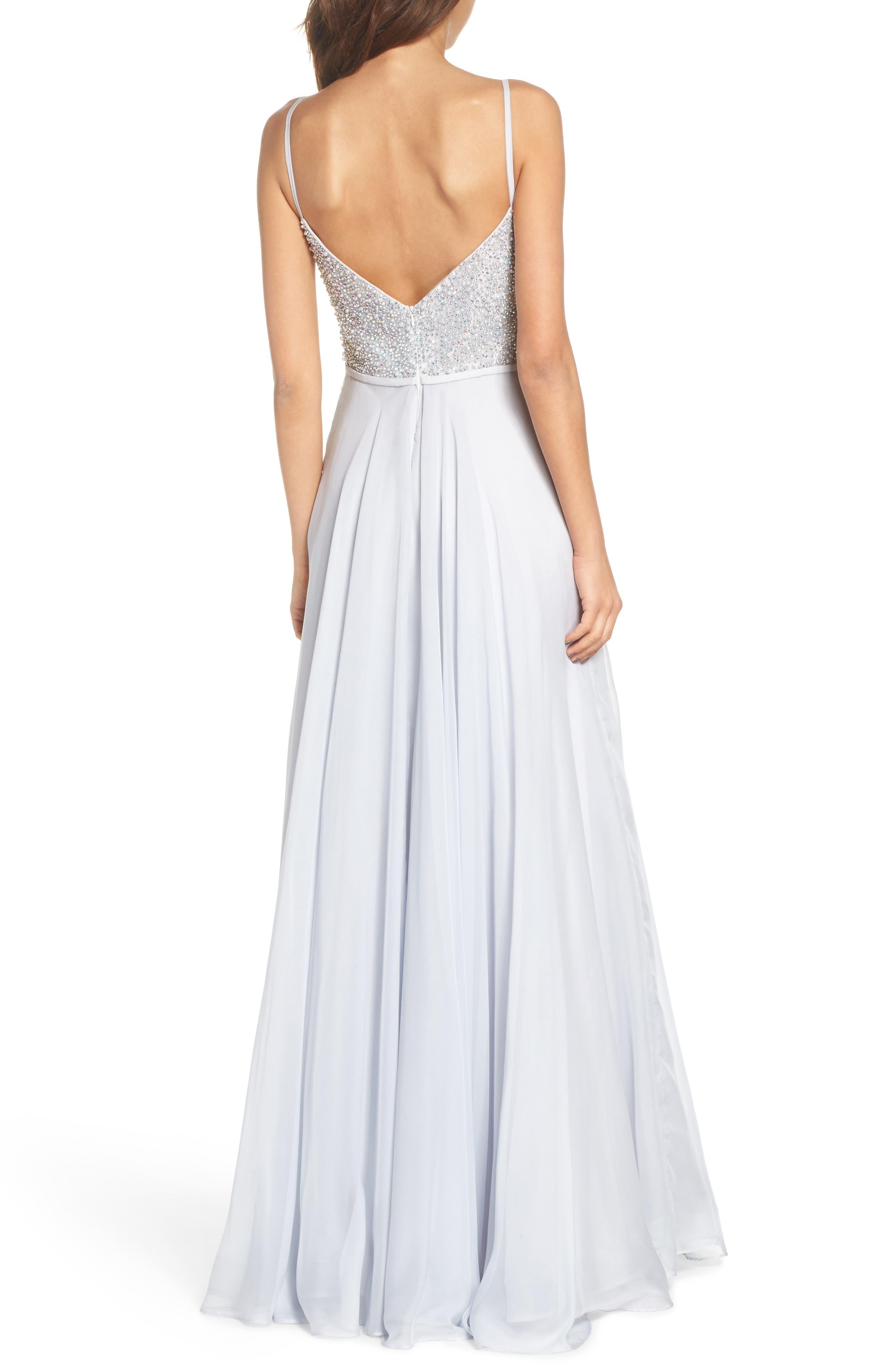 Alternate Image 2  - La Femme Beaded Chiffon Gown