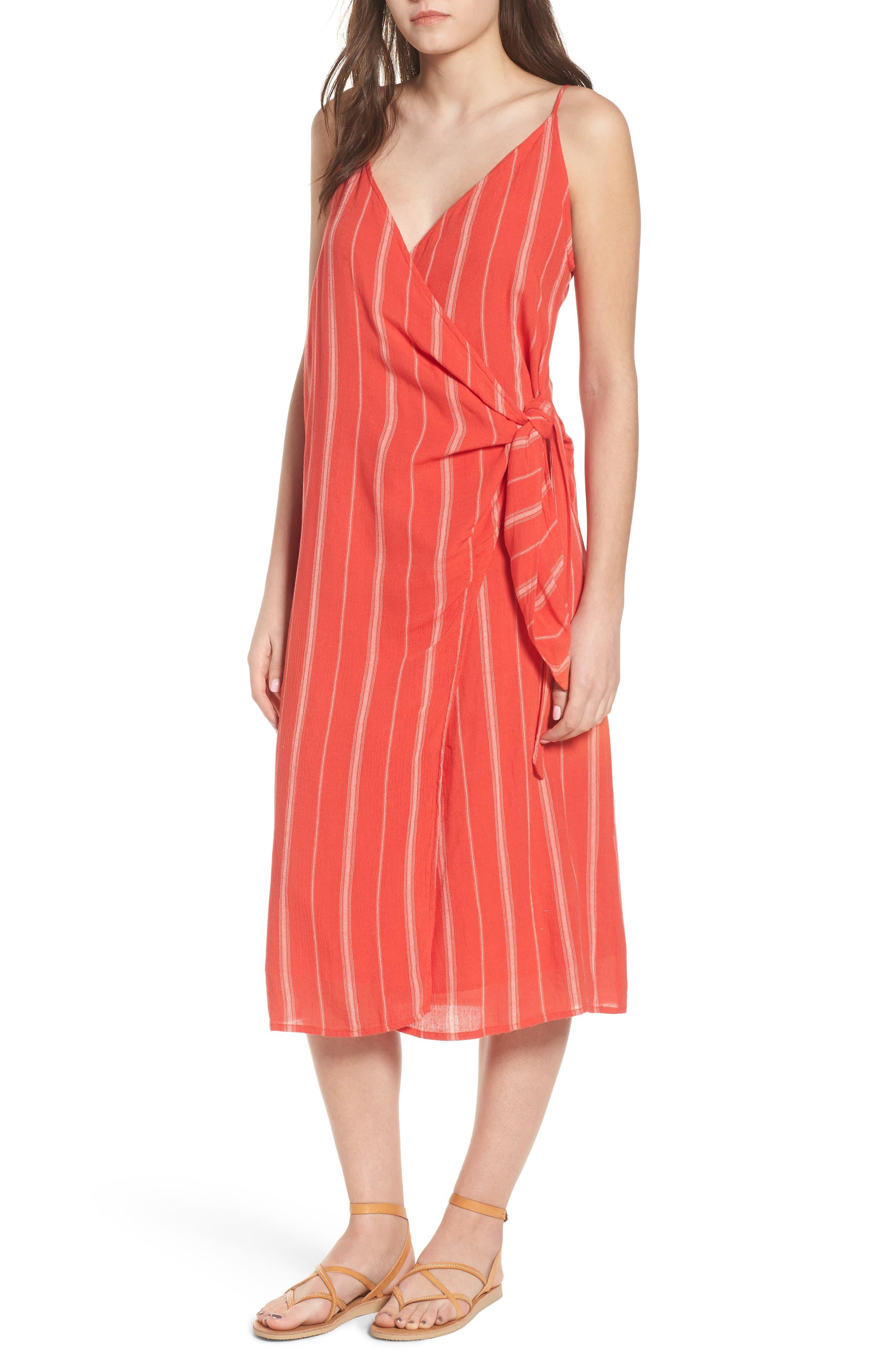 Bordeaux Wrap Dress,                             Main thumbnail 1, color,                             Rebel Red