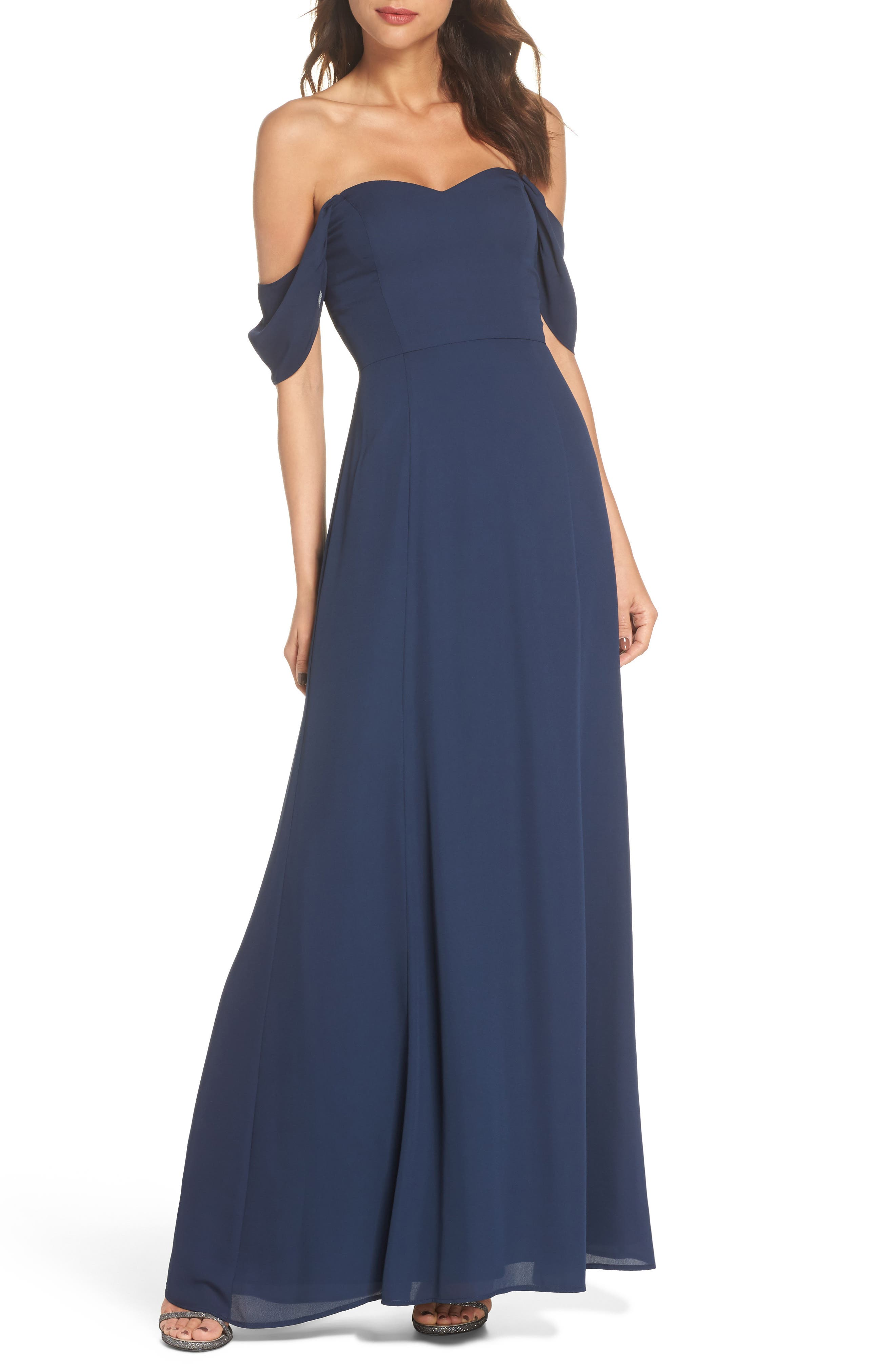 Rachel Off the Shoulder Gored Maxi Dress,                             Main thumbnail 1, color,                             Navy