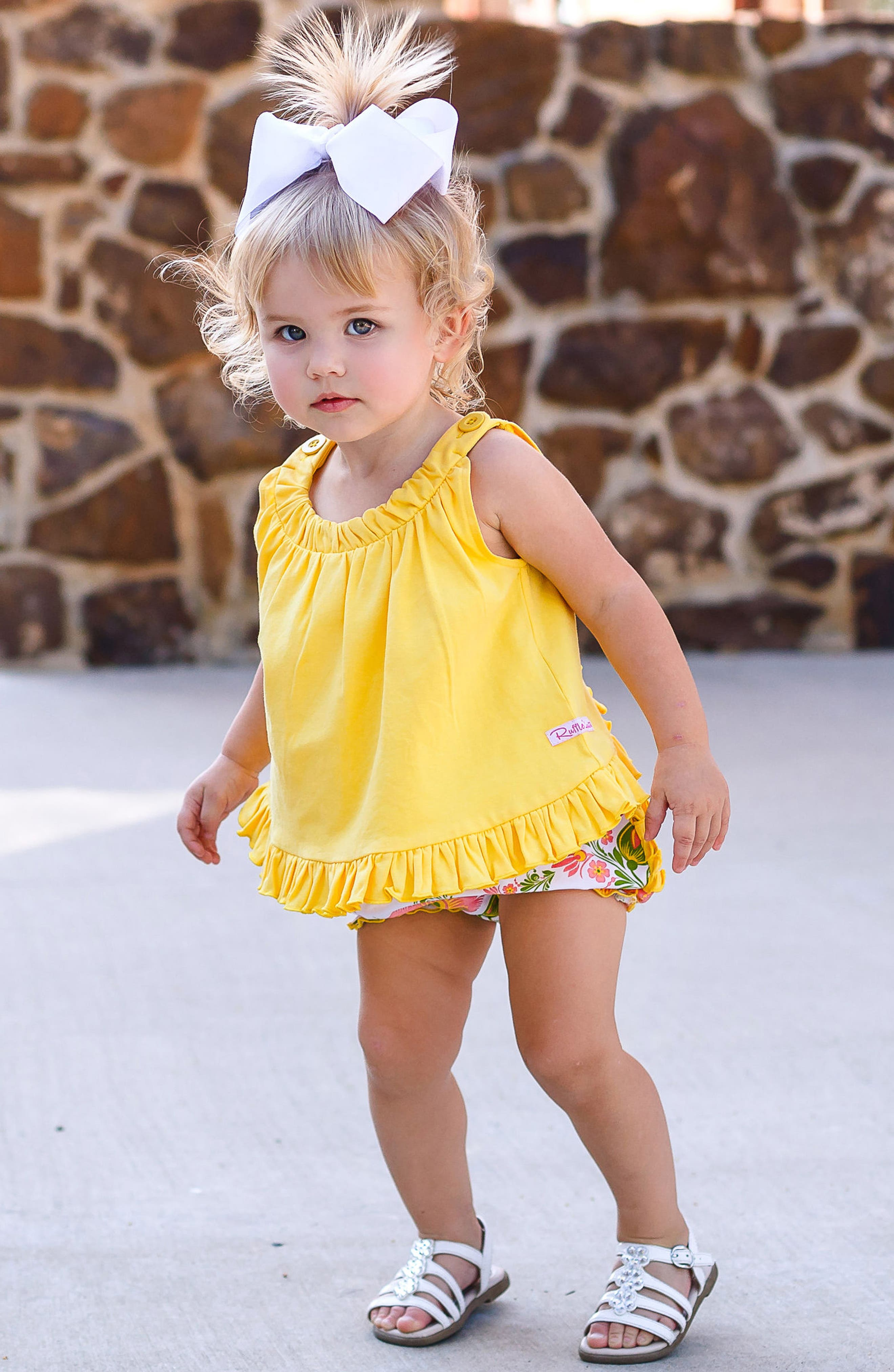 Ivy Lane Swing Top & Ruffle Bloomers Set,                             Alternate thumbnail 3, color,                             Yellow
