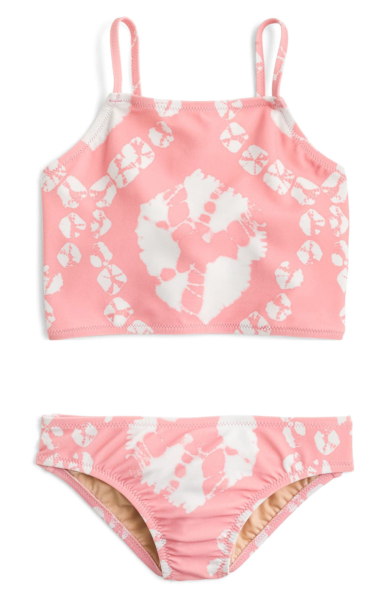 Tie Dye Two-Piece Swimsuit,                             Main thumbnail 1, color,                             Pink Orange Multi