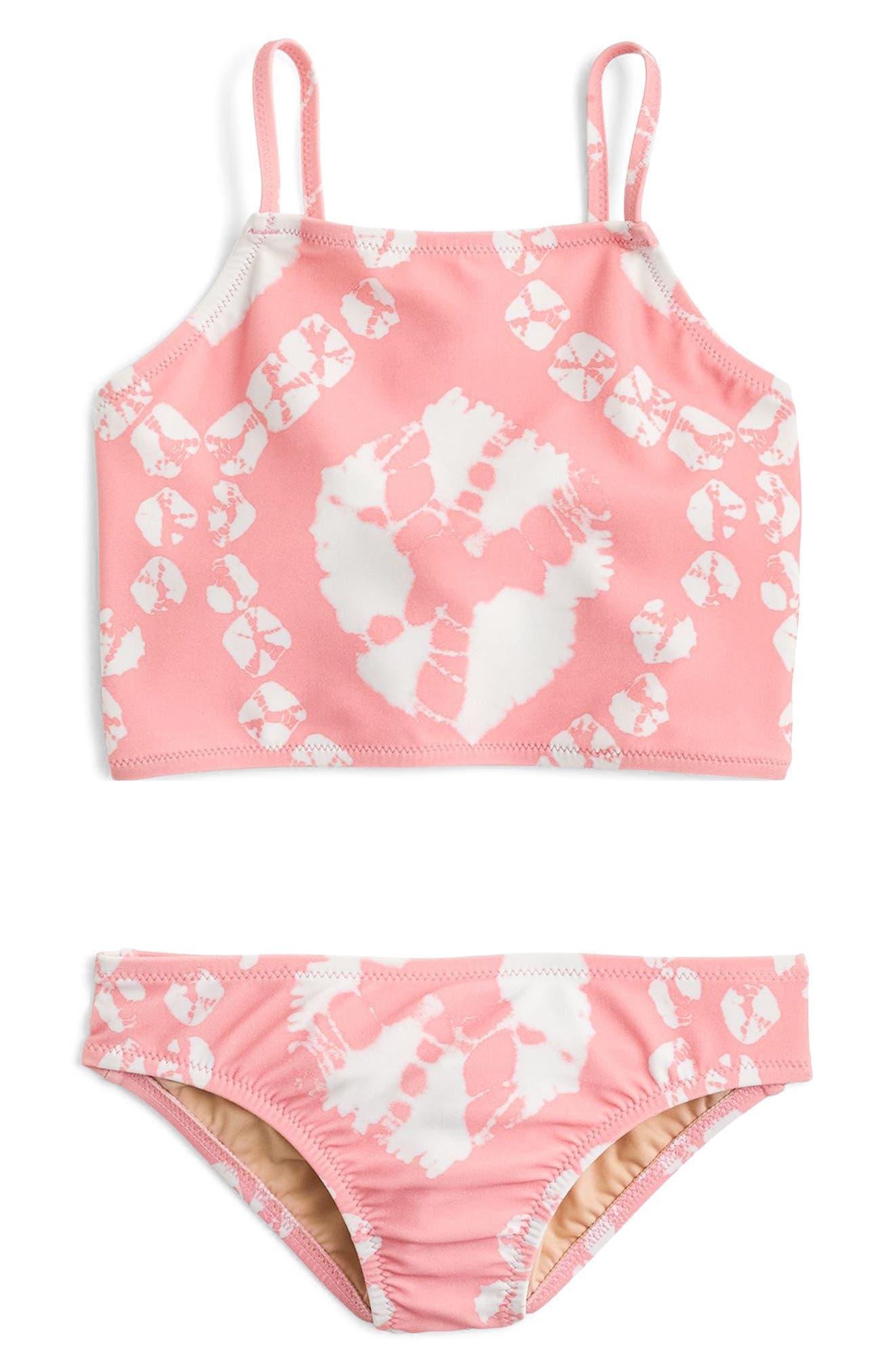 Main Image - crewcuts by J.Crew Tie Dye Two-Piece Swimsuit (Toddler Girls, Little Girls & Big Girls)