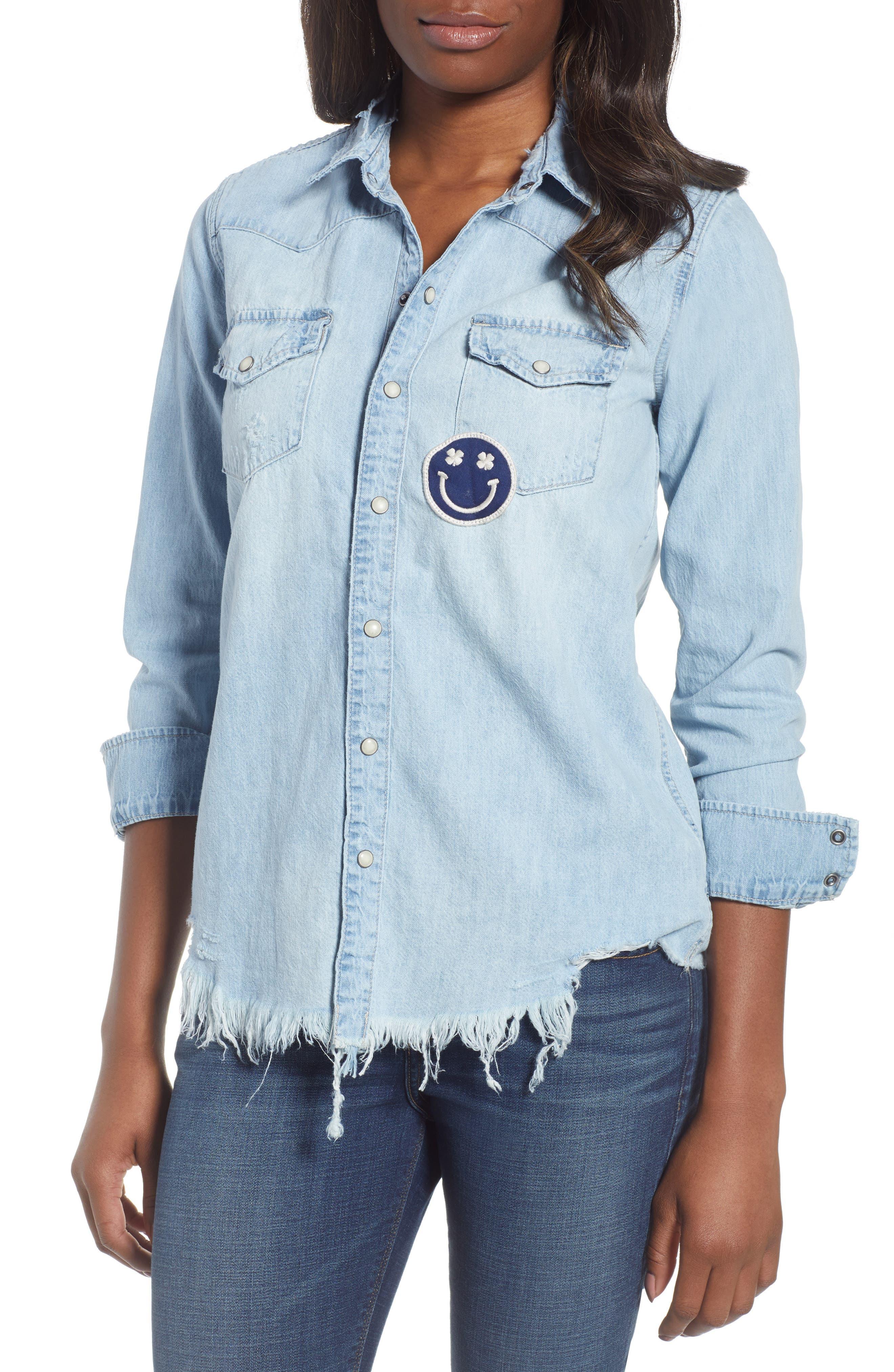 Western Smiley Denim Shirt,                         Main,                         color, Bixby Hill