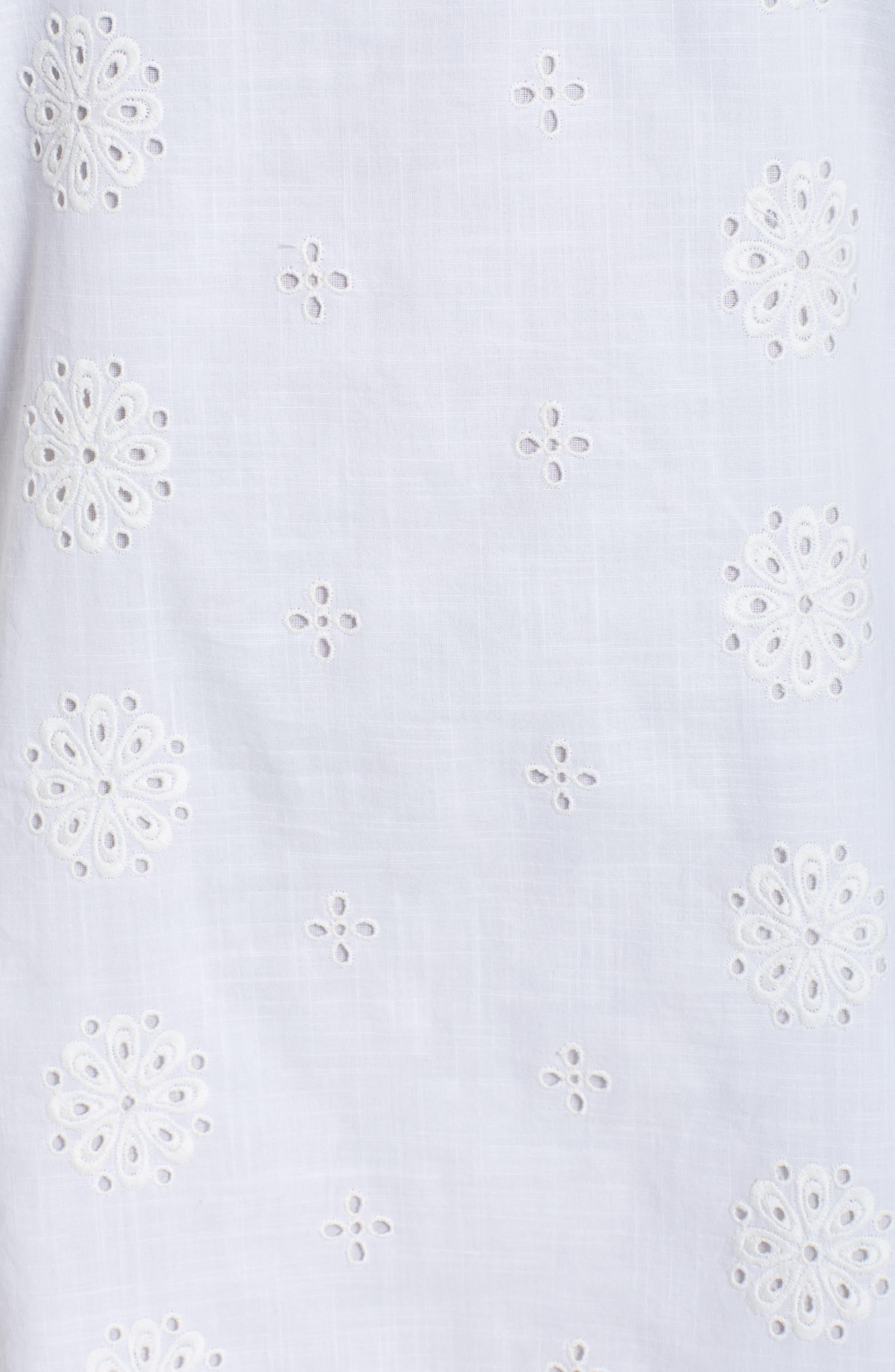 Eyelet Flutter Sleeve Cotton Dress,                             Alternate thumbnail 5, color,                             White Cap