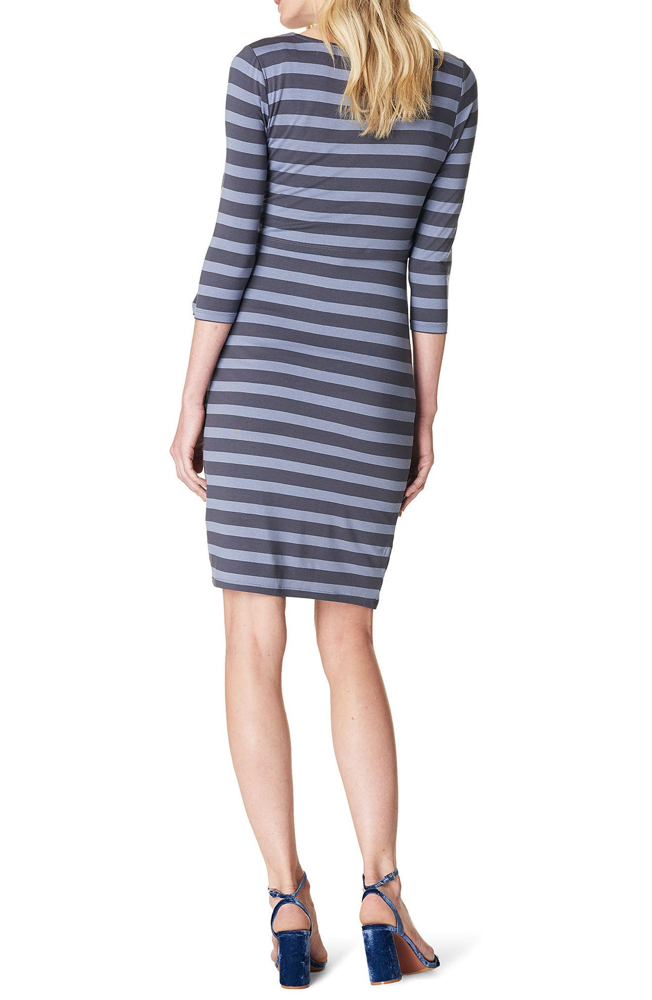 Aaike Maternity/Nursing Sheath Dress,                             Alternate thumbnail 2, color,                             Blue Strip