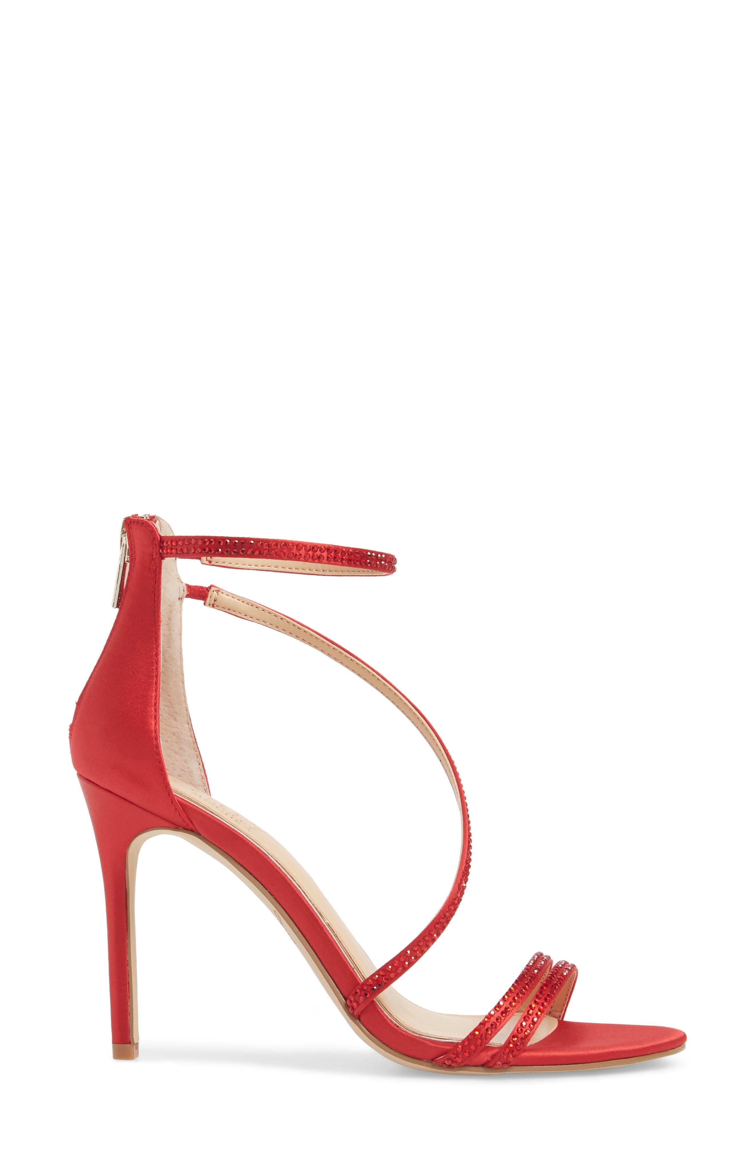 Gail Crystal Embellished Sandal,                             Alternate thumbnail 3, color,                             Red Satin