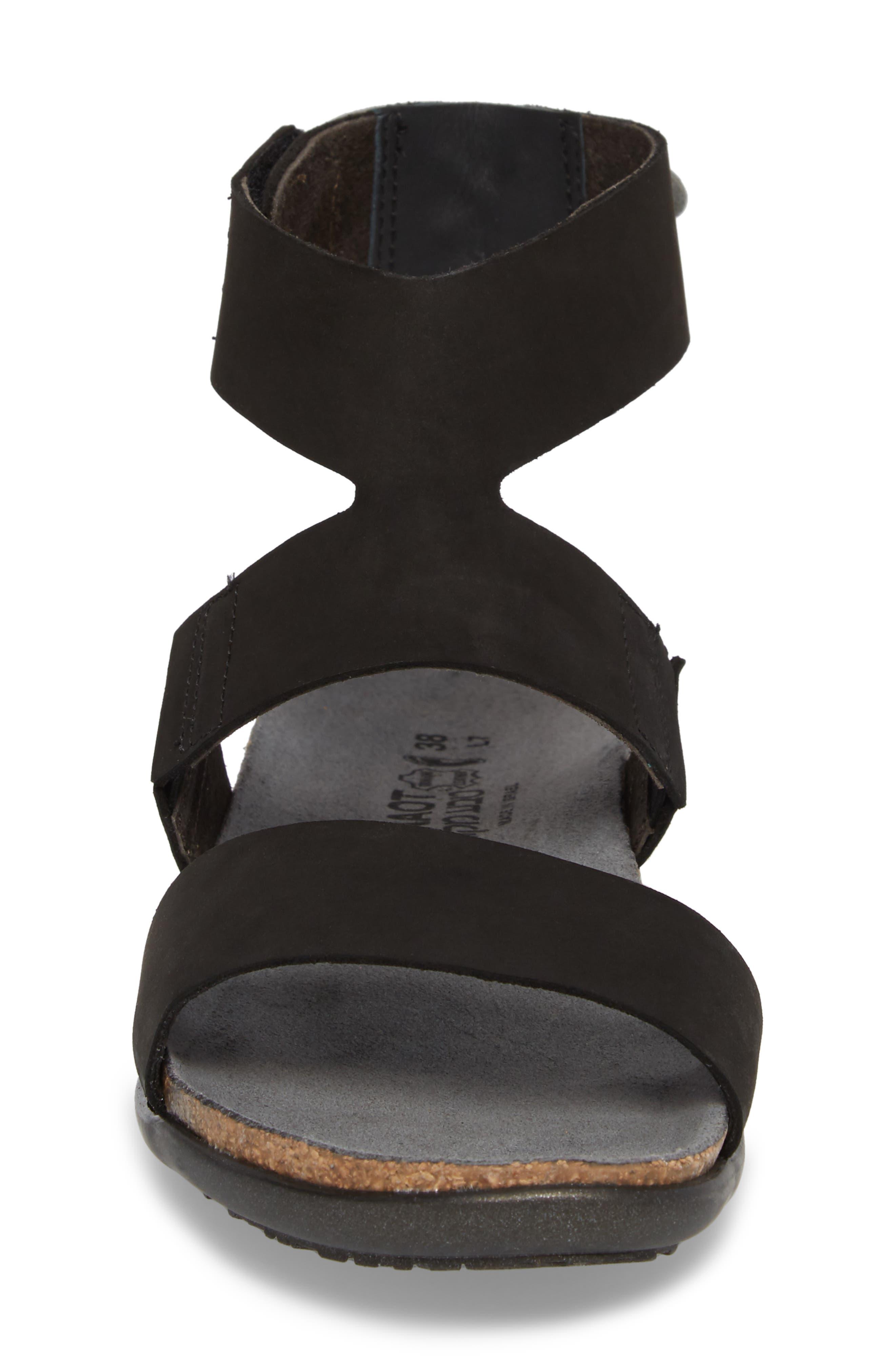 Larissa Ankle Strap Sandal,                             Alternate thumbnail 4, color,                             Black Velvet Nubuck