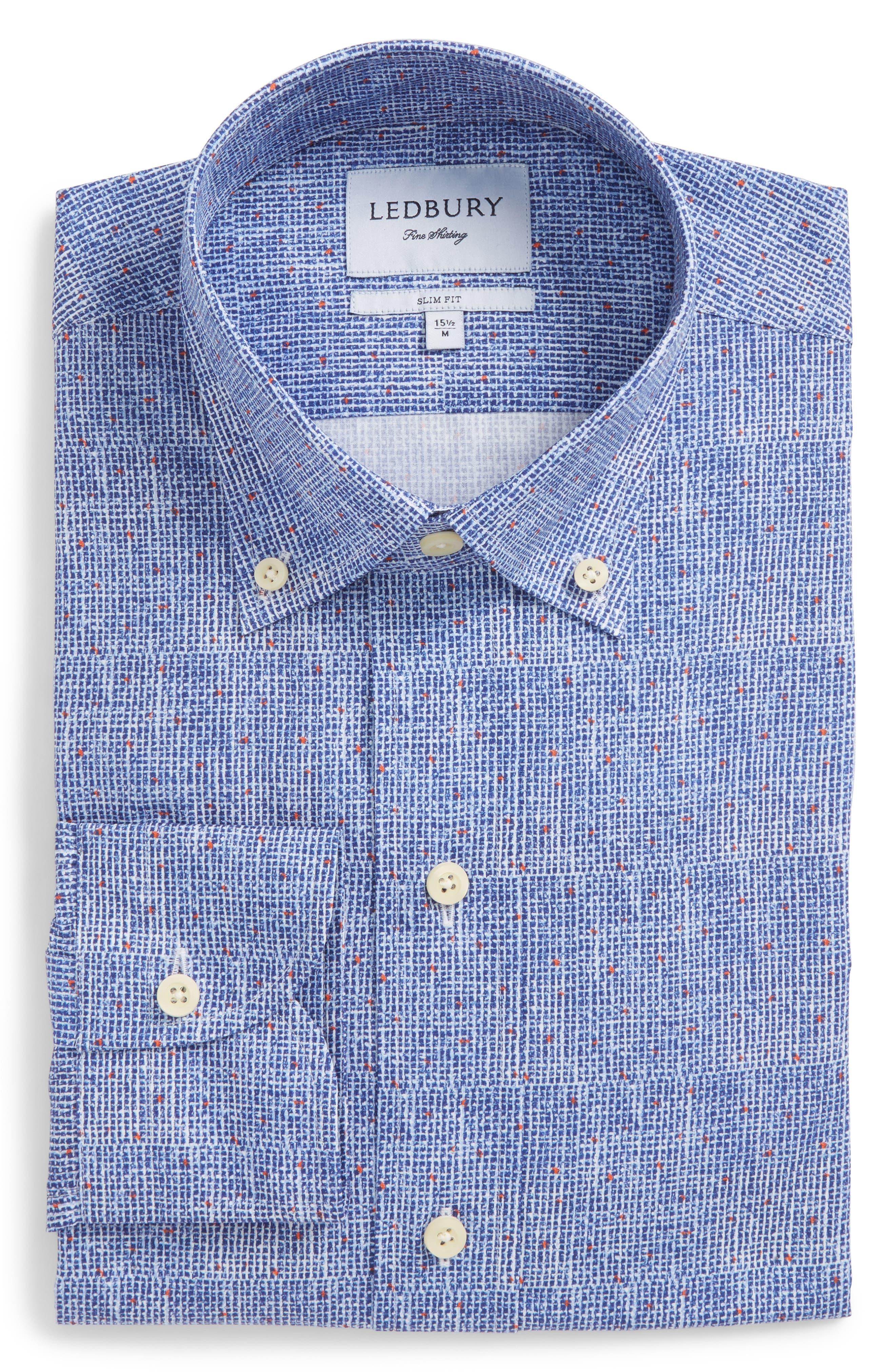 Normand Slim Fit Check Dress Shirt,                             Alternate thumbnail 6, color,                             Blue