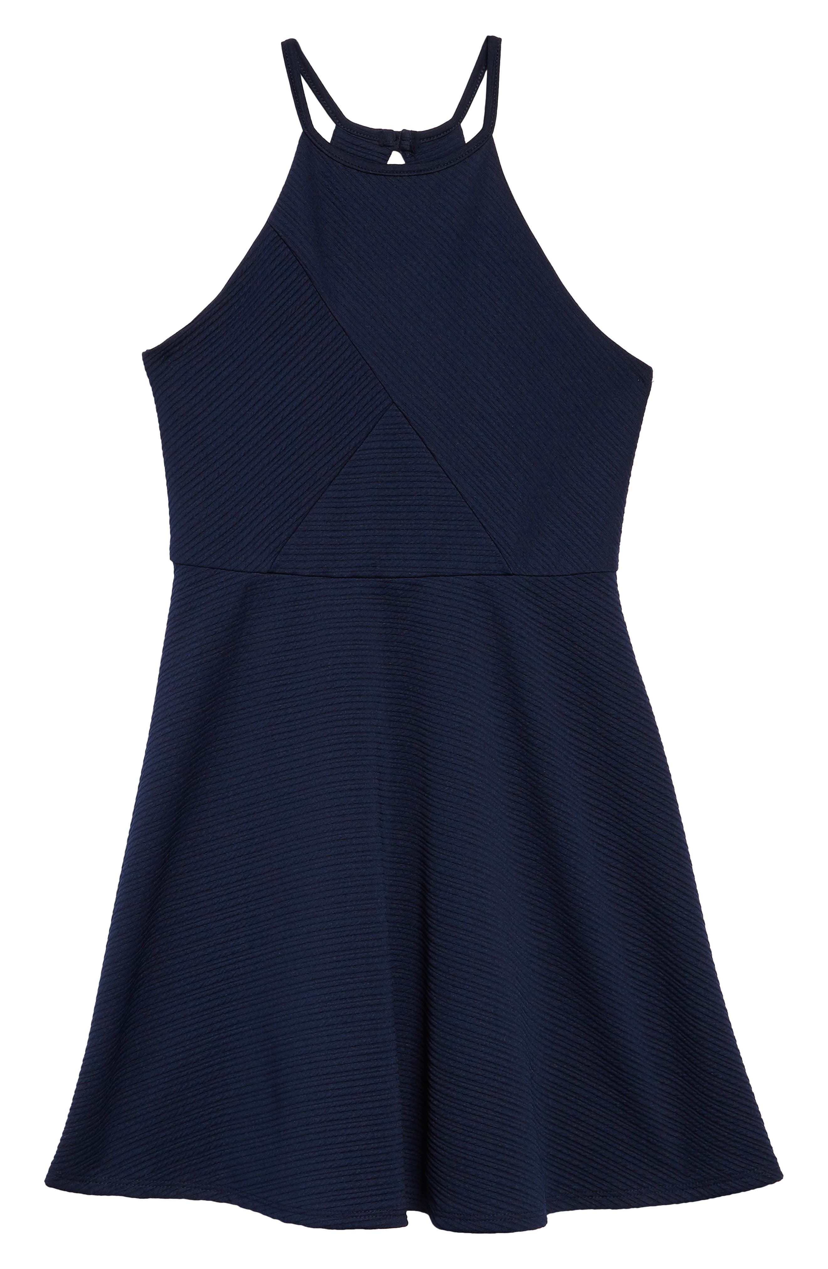 Textured Skater Dress,                         Main,                         color, Navy