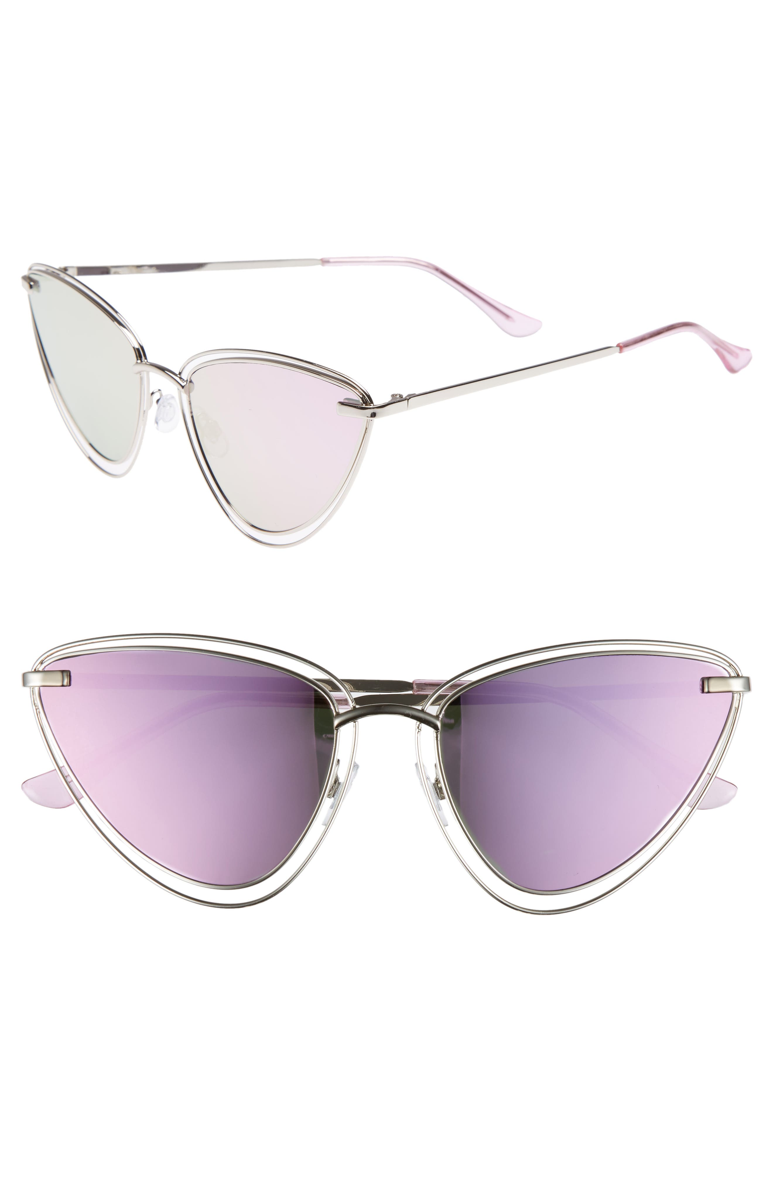 55mm Metal Cat Eye Sunglasses,                             Main thumbnail 1, color,                             Silver/ Purple