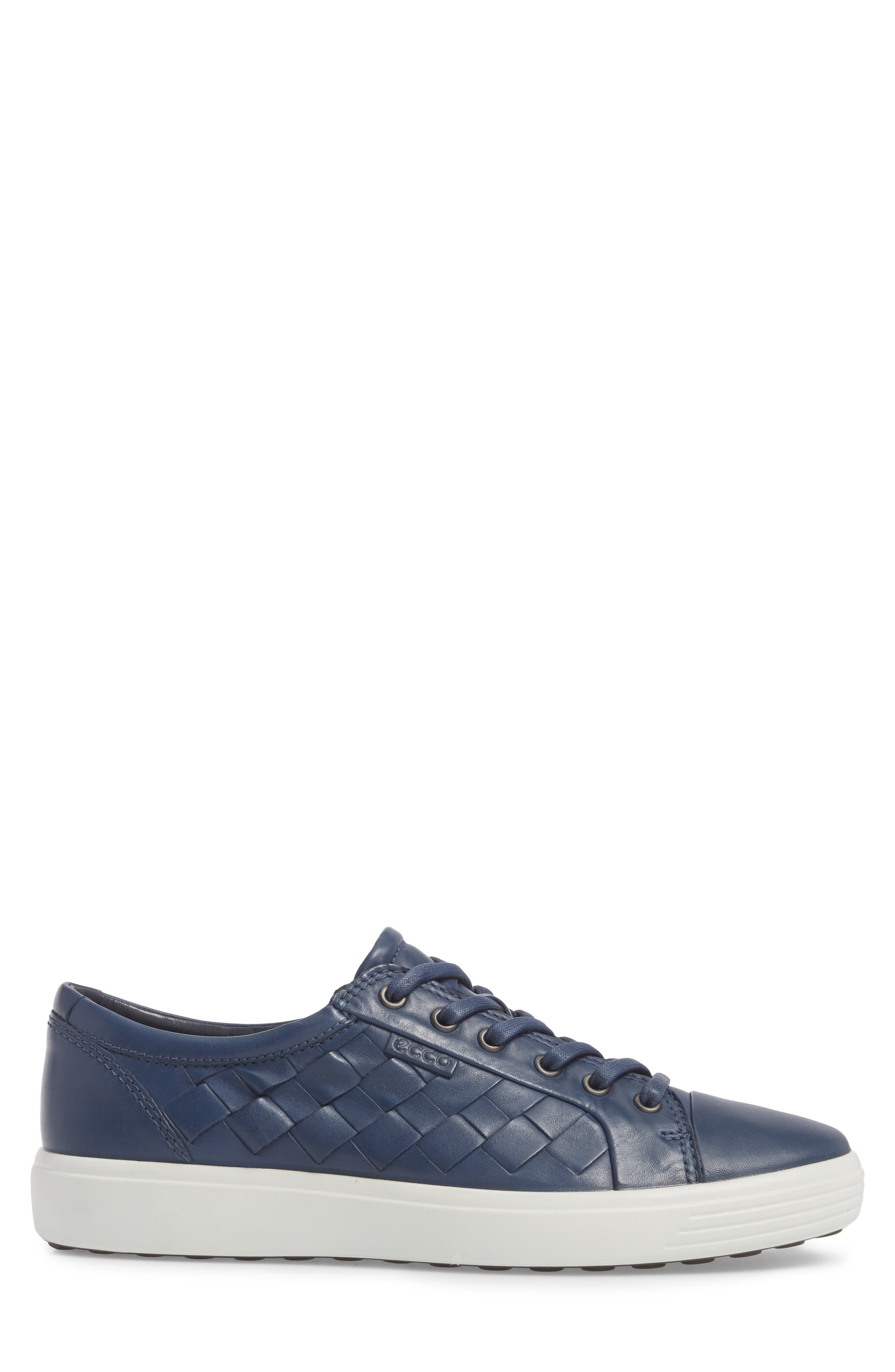 Soft 7 Woven Sneaker,                             Alternate thumbnail 3, color,                             True Navy Leather
