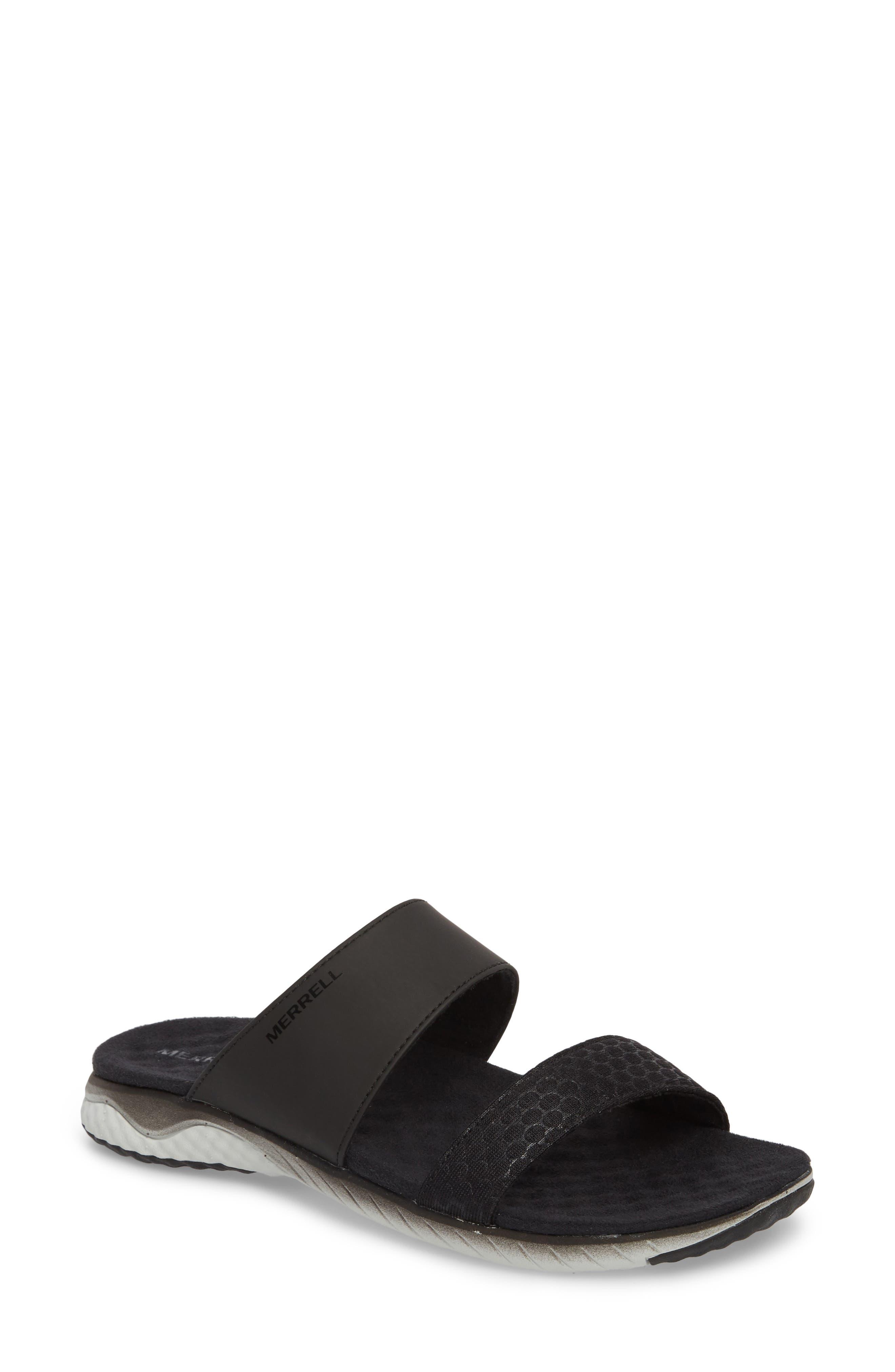 1SIX8 Linna Air Cushion+ Slide Sandal,                             Main thumbnail 1, color,                             Black