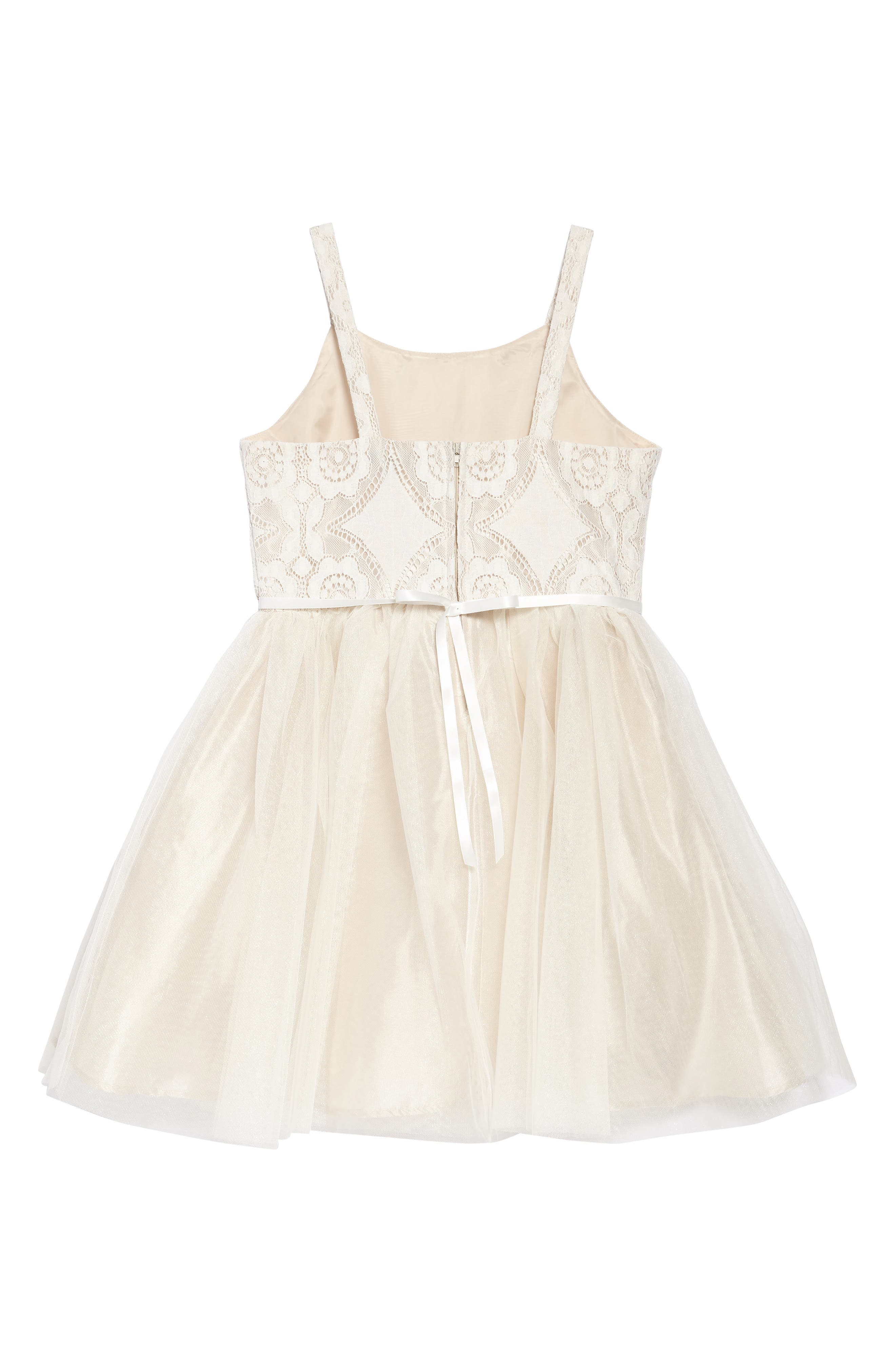 Lace & Tulle Party Dress,                             Alternate thumbnail 2, color,                             Ivory/ Tan