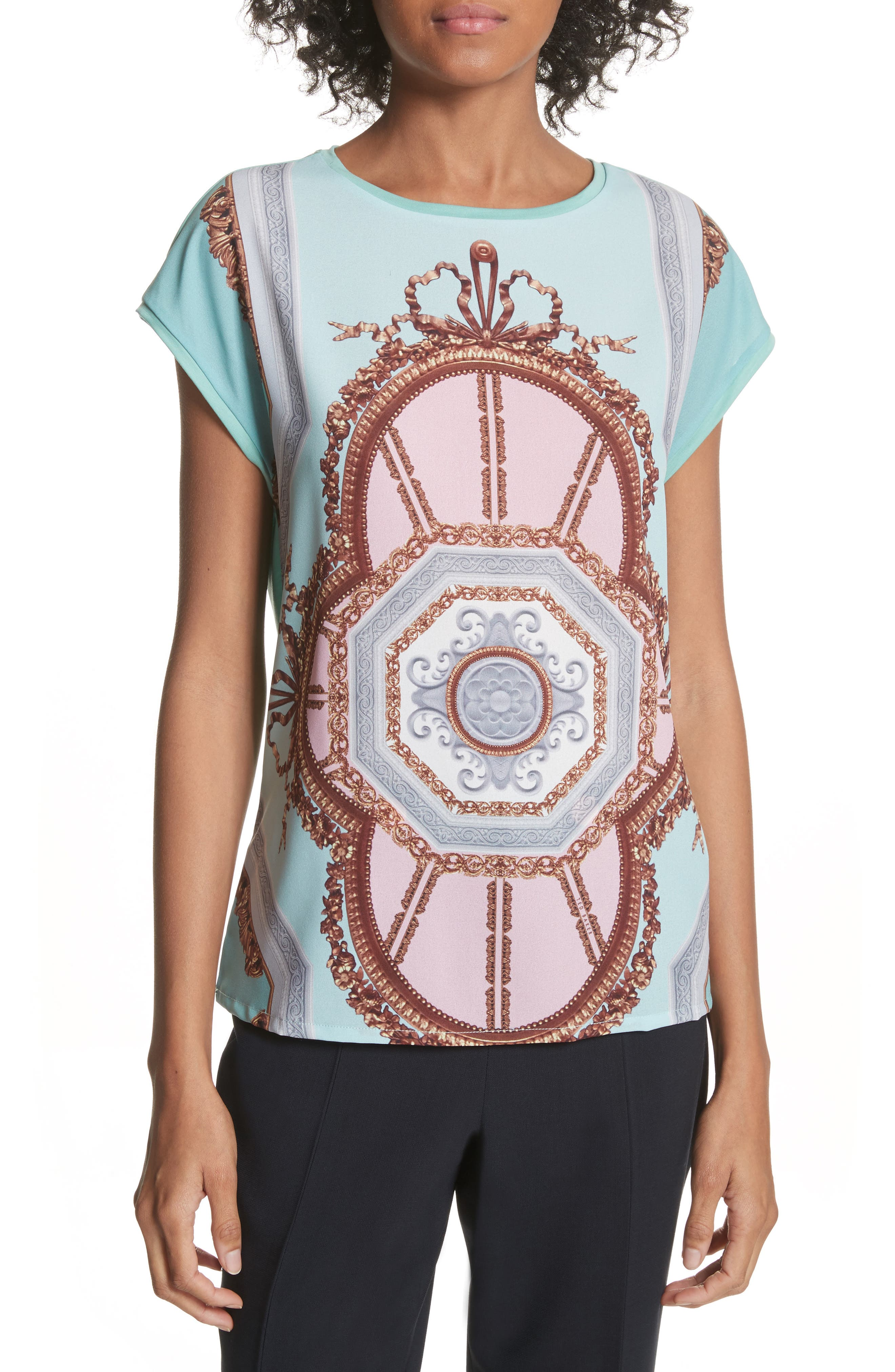 Versailles Woven Front Tee,                         Main,                         color, Teal