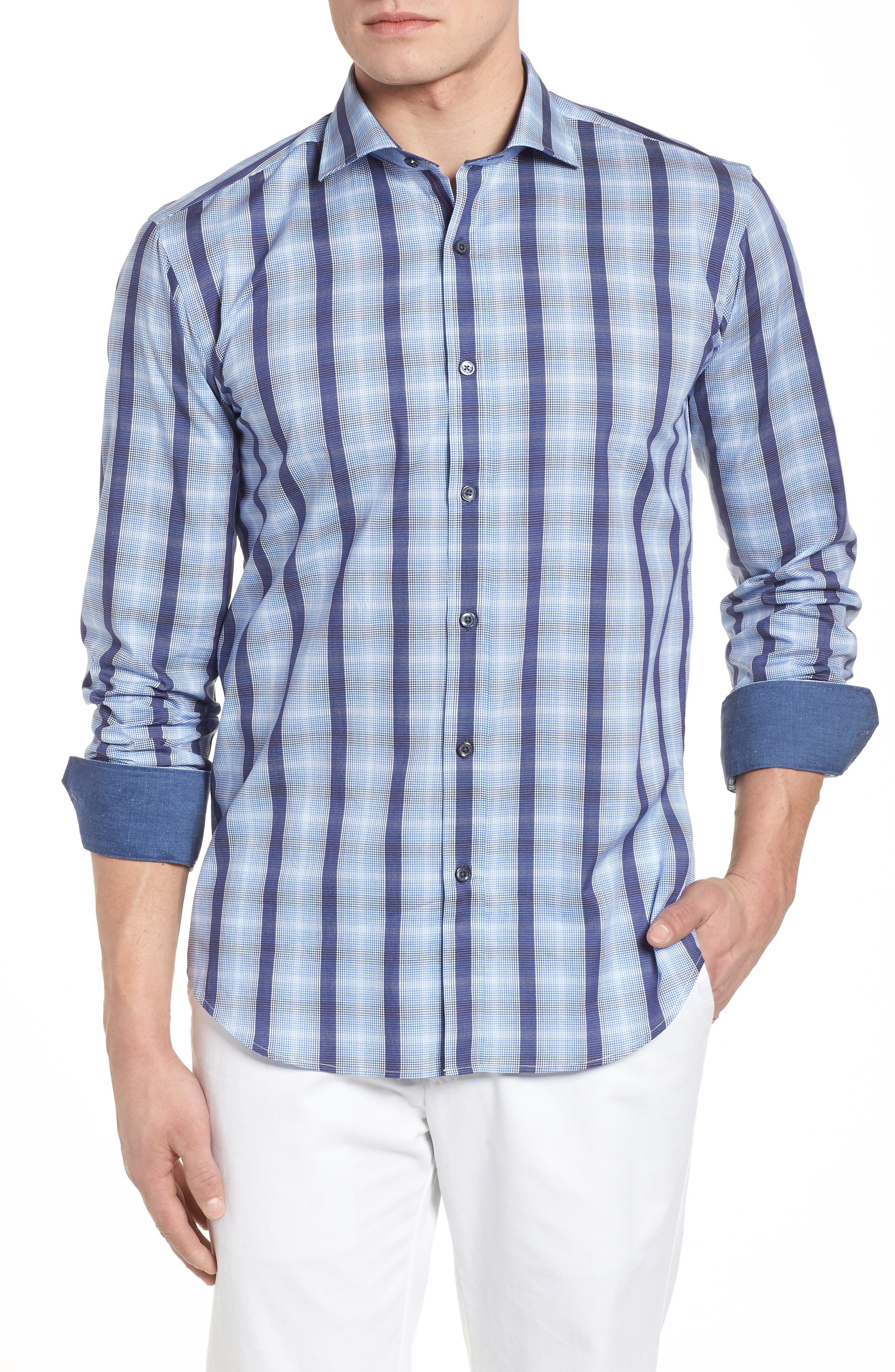 Bugatchi Shaped Fit Stripe & Check Sport Shirt