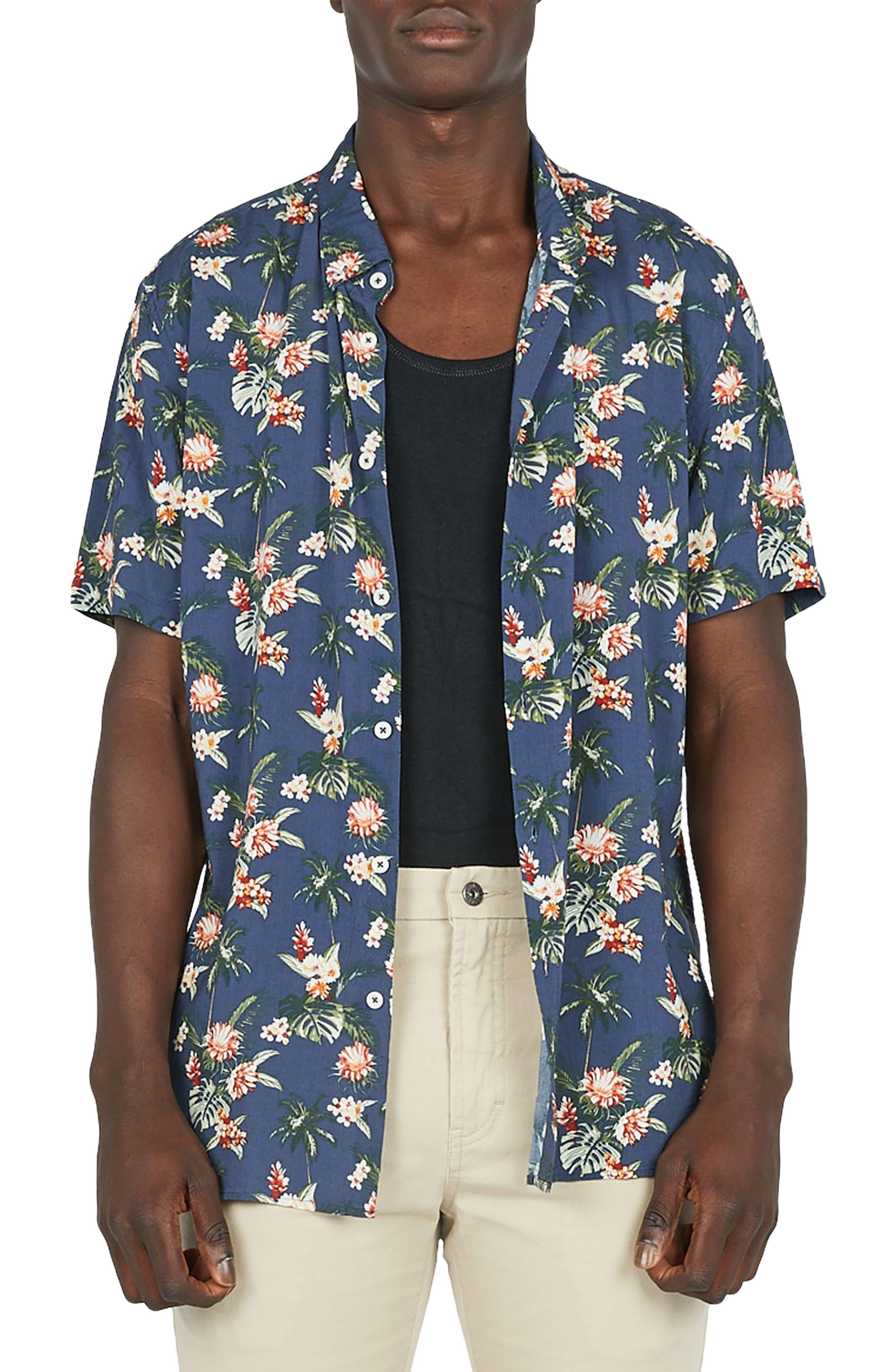 Holiday Woven Shirt,                             Main thumbnail 1, color,                             Navy Hawaii