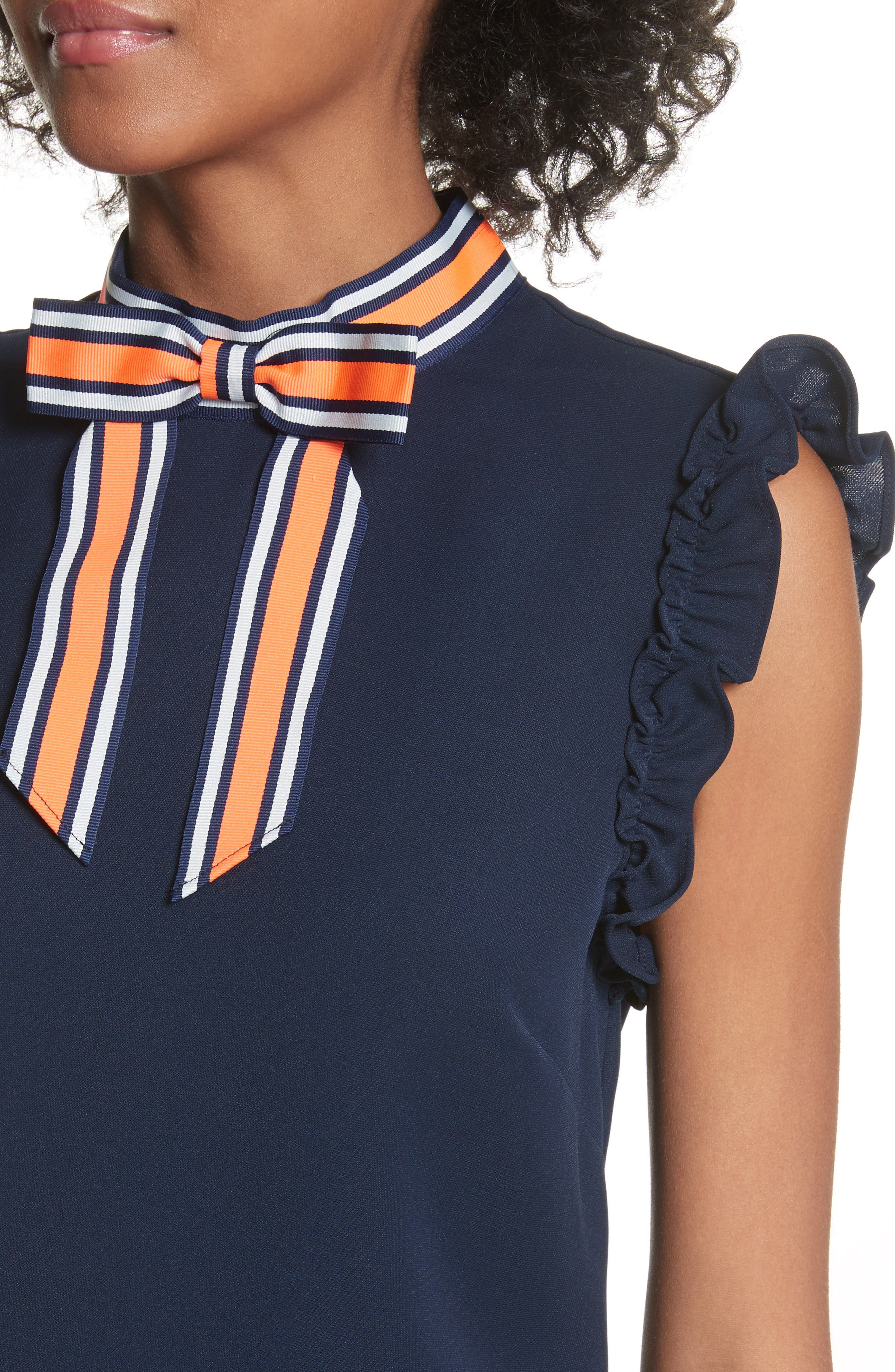 Bow Neck Frilled Top,                             Alternate thumbnail 4, color,                             Navy